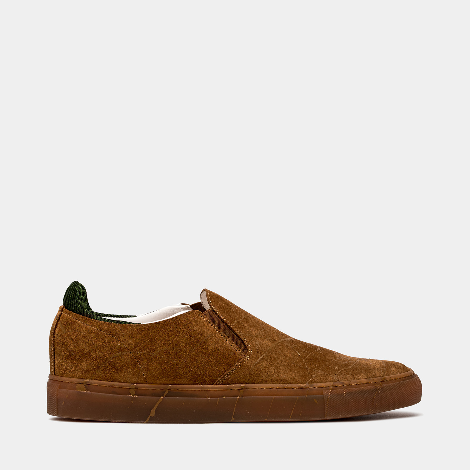 BUTTERO: TANINO SLIP ON SHOES IN SIENNA BROWN SUEDE