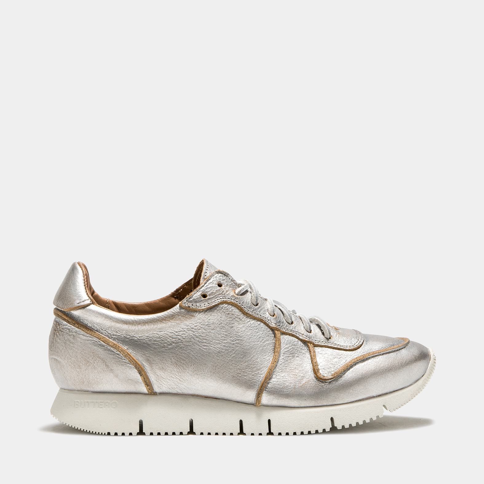 BUTTERO: CARRERA SNEAKER IN SILVER TONE LAMINATED LEATHER