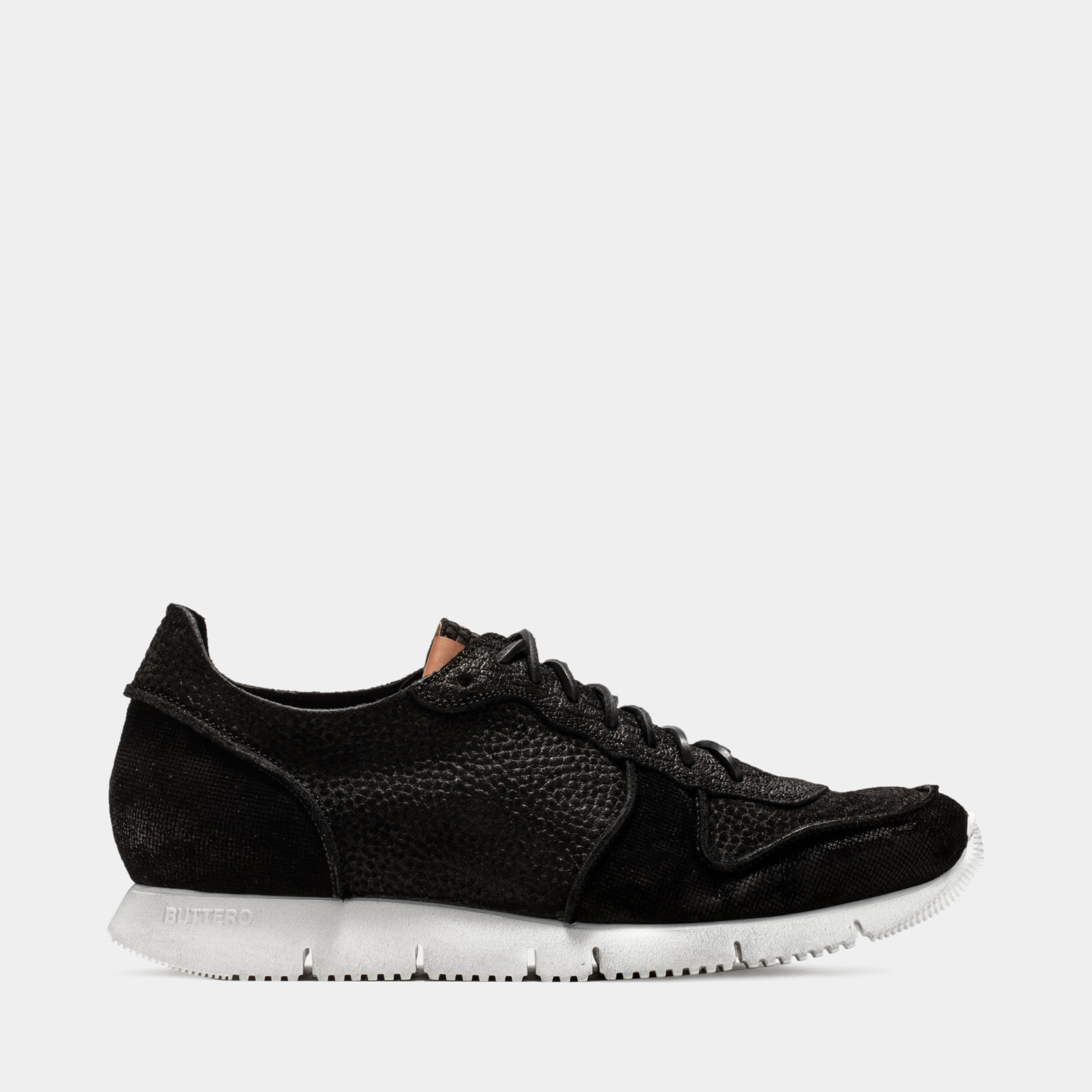 BUTTERO: CARRERA SNEAKERS IN BLACK PRINTED SUEDE