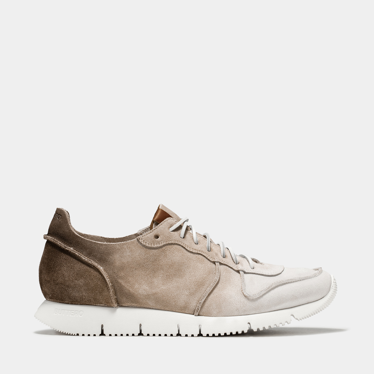 BUTTERO: WHITE/CAPPUCCINO/TERRA DEGRADE' SUEDE CARRERA SNEAKERS
