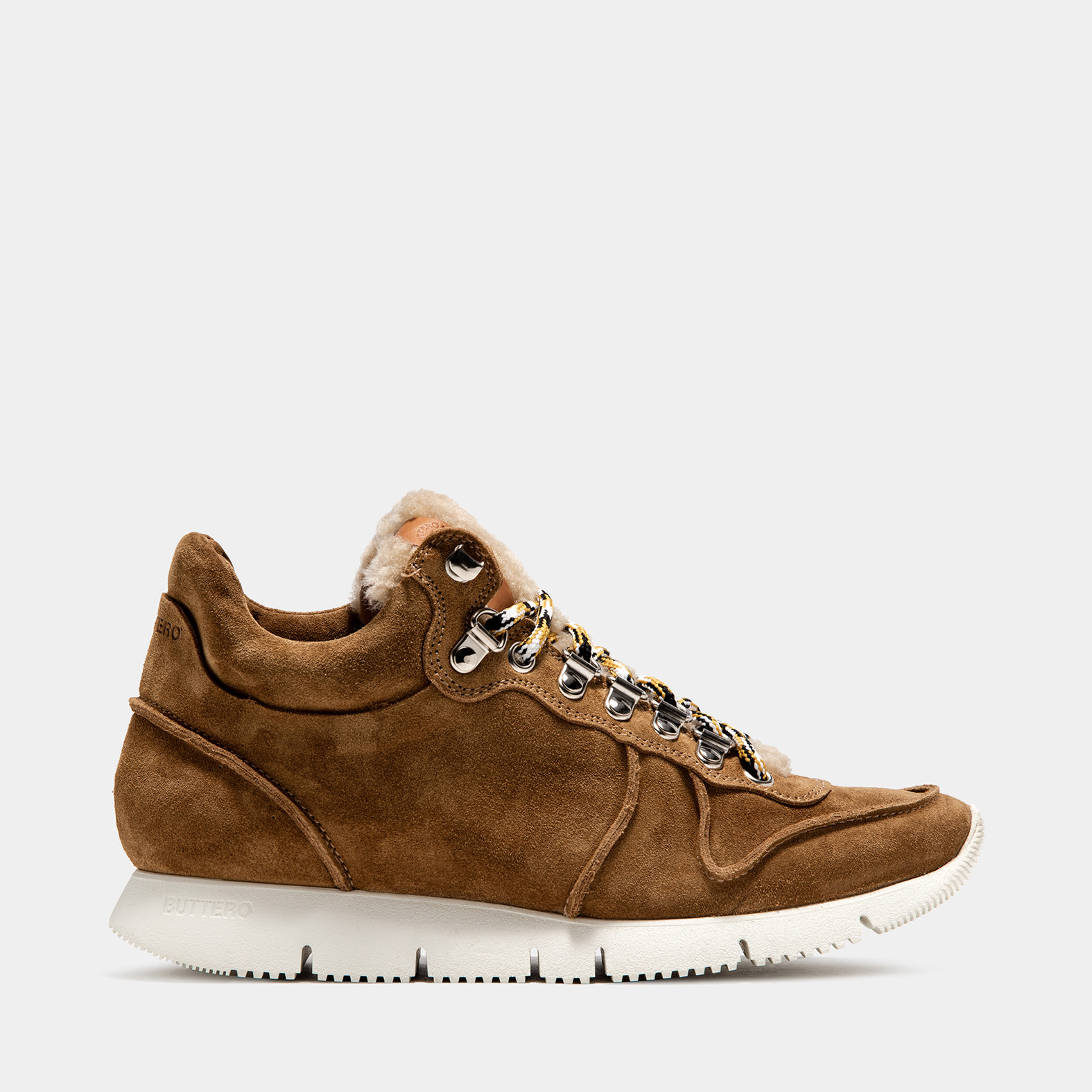 BUTTERO: CARRERA SNEAKERS IN COPPER SUEDE