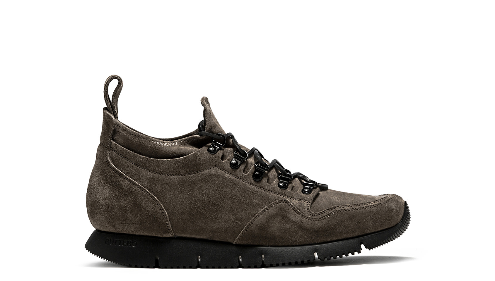 BUTTERO: CARRERA SOCK SNEAKERS IN FOREST GREEN STRETCH SUEDE