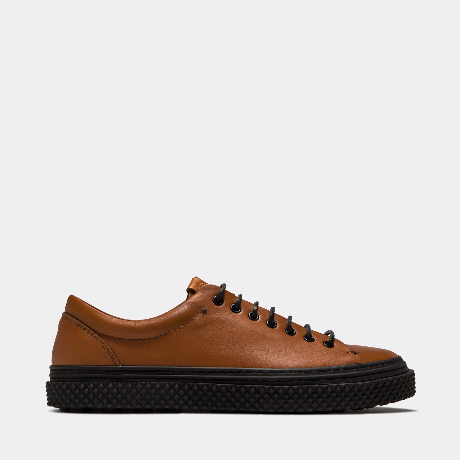 BUTTERO: COLLODI SNEAKERS IN NATURAL BROWN PULL EFFECT LEATHER