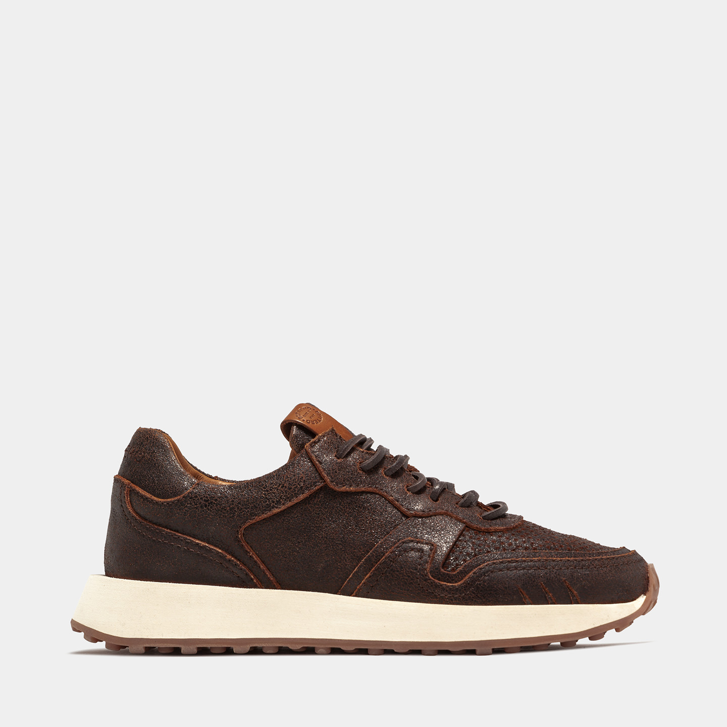 BUTTERO: FUTURA SNEAKERS IN DARK BROWN CRACKLE EFFECT LEATHER