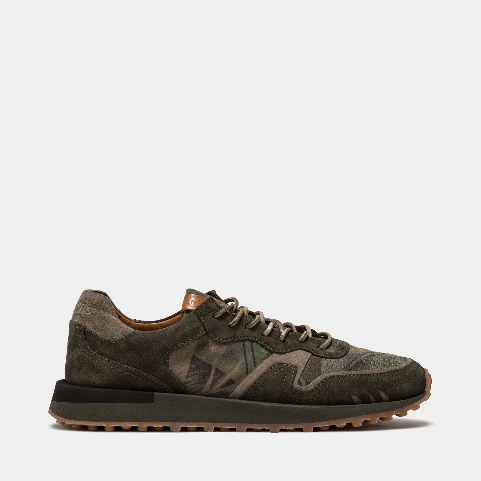 BUTTERO: FUTURA SNEAKERS IN HUNTER GREEN SUEDE WITH FLORAL PATTERN