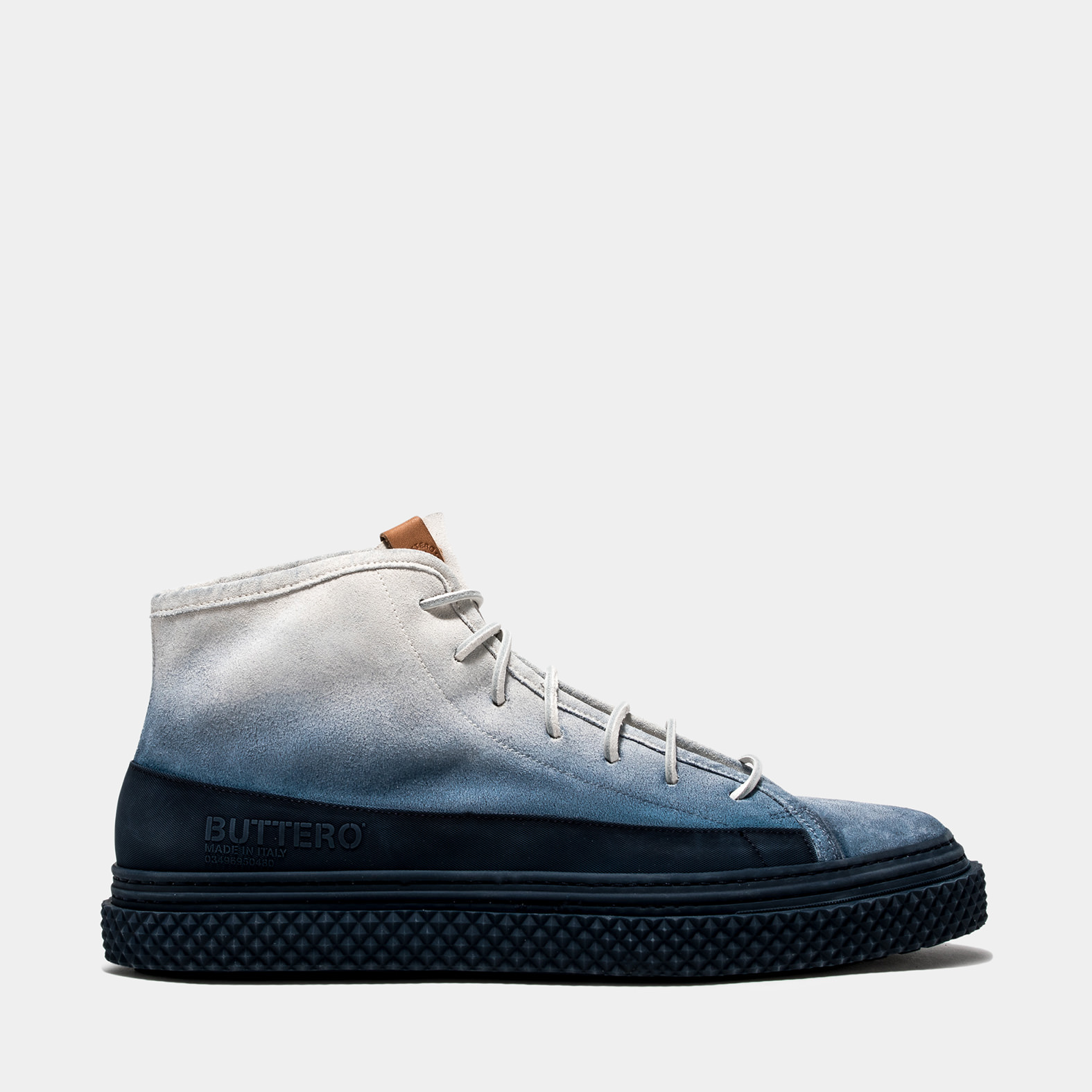 BUTTERO: SNEAKER MID BRIGATA IN SUEDE DEGRADE' BLUETTE