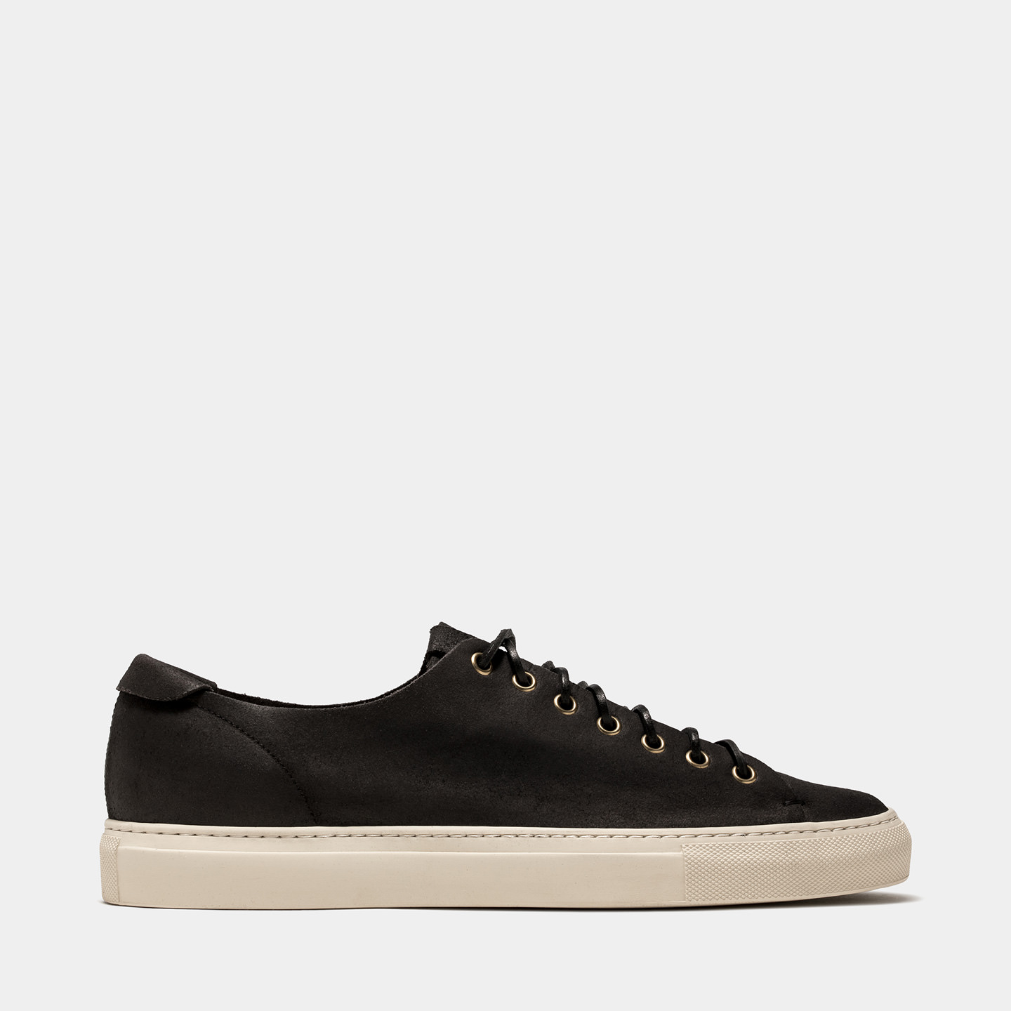 BUTTERO: TANINO SNEAKERS IN BLACK BIANCHETTO LEATHER