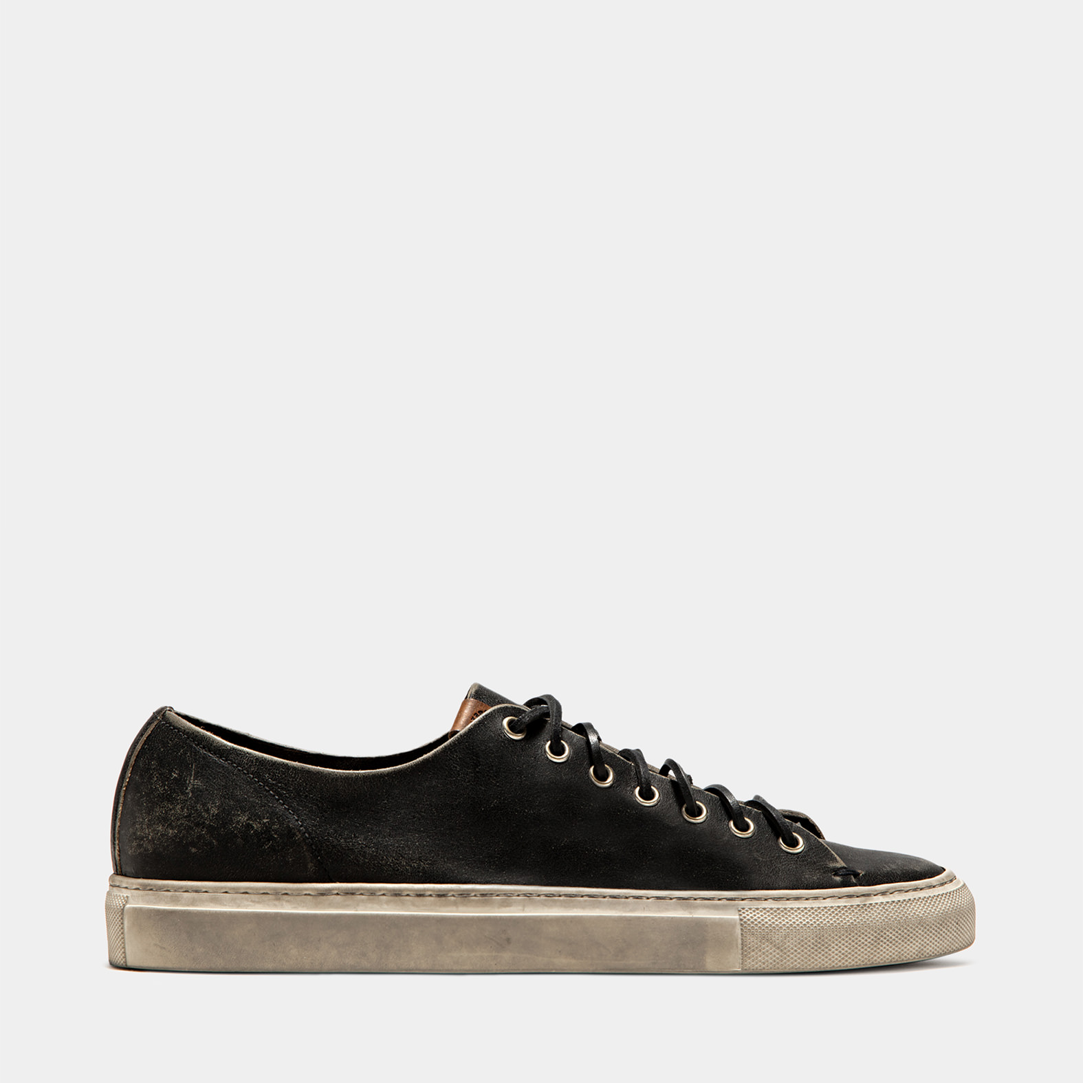 BUTTERO: BLACK USED EFFECT LEATHER TANINO LOW TOP SNEAKERS