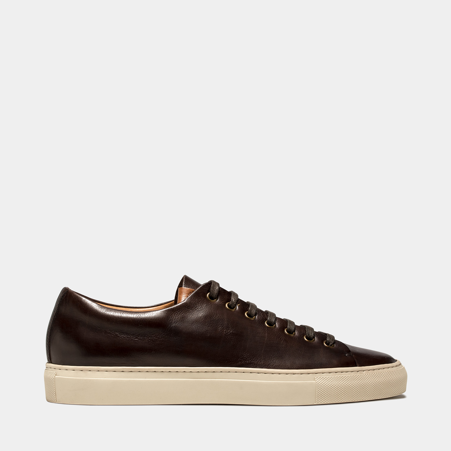 BUTTERO: DARK BROWN LEATHER TANINO LOW SNEAKERS