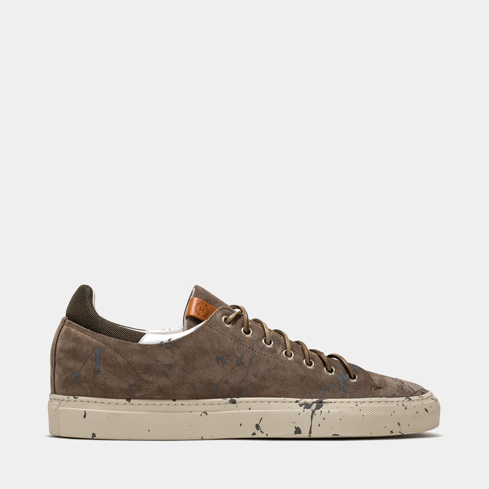 BUTTERO: TANINO SNEAKERS IN TAUPE GRAY SUEDE