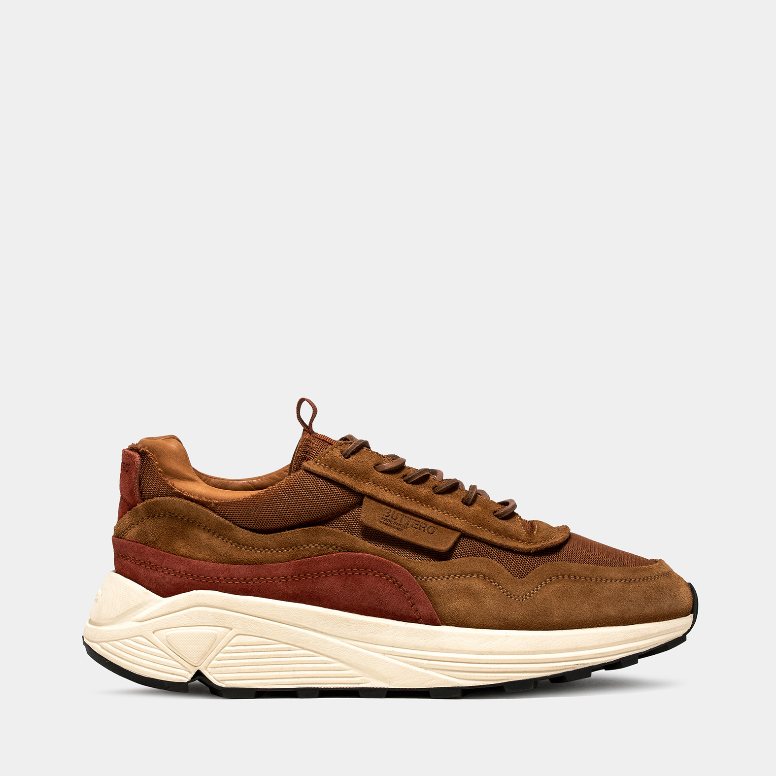BUTTERO: VINCI SNEAKERS IN SIENNA NYLON MESH AND SUEDE