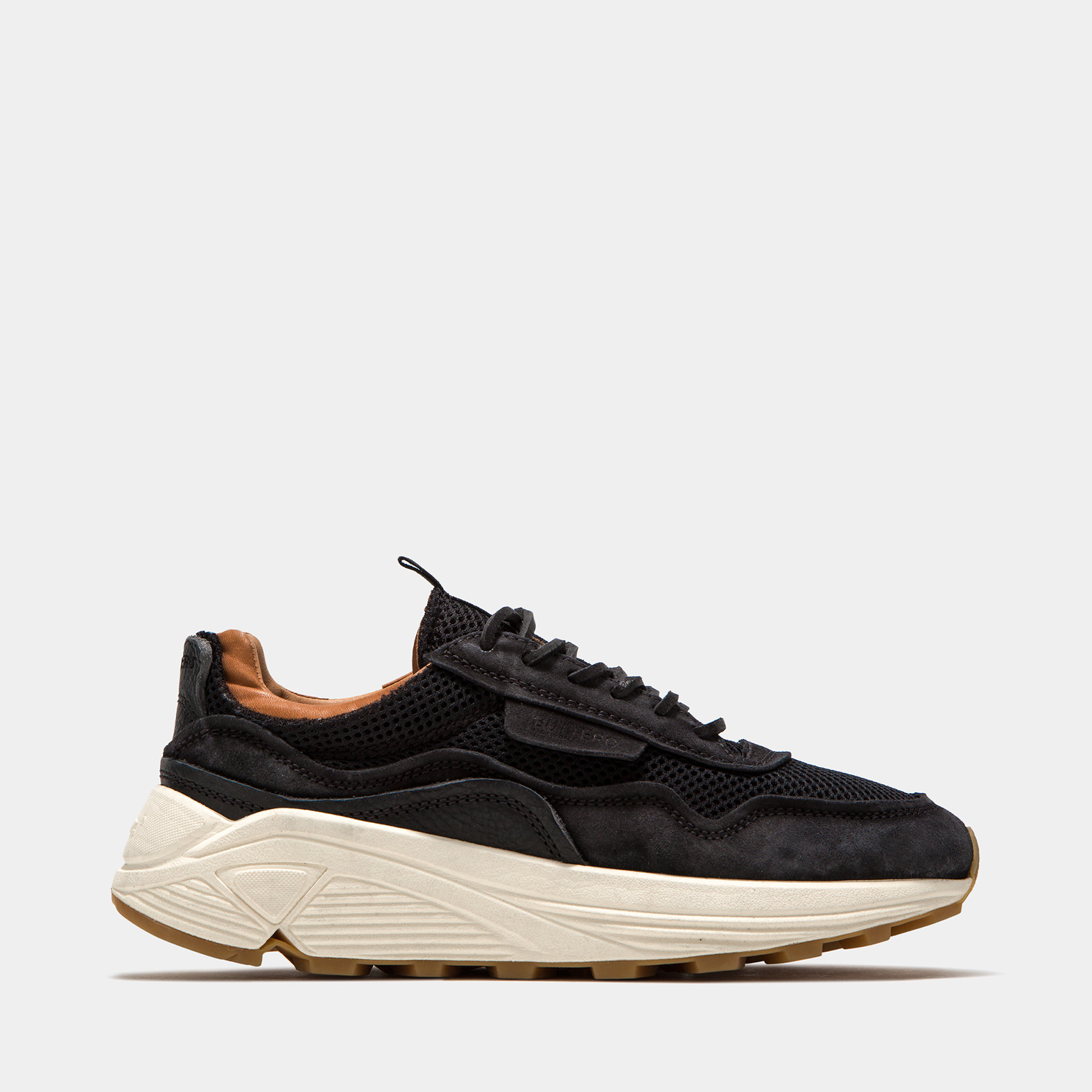 BUTTERO: VINCI SNEAKERS IN BLACK USED EFFECT NYLON MESH AND SUEDE