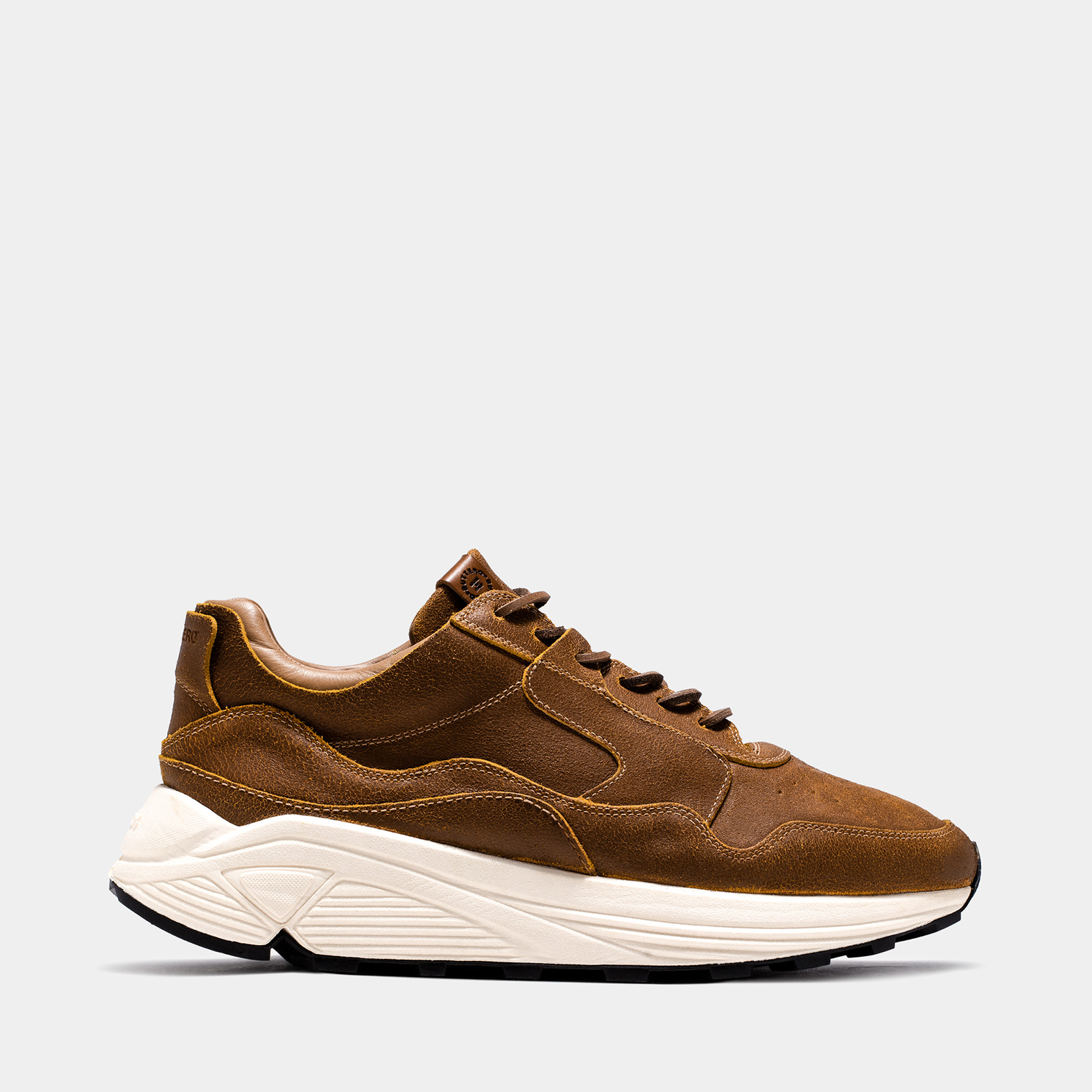 BUTTERO: VINCI SNEAKER IN NATURAL BROWN BIANCHETTO LEATHER