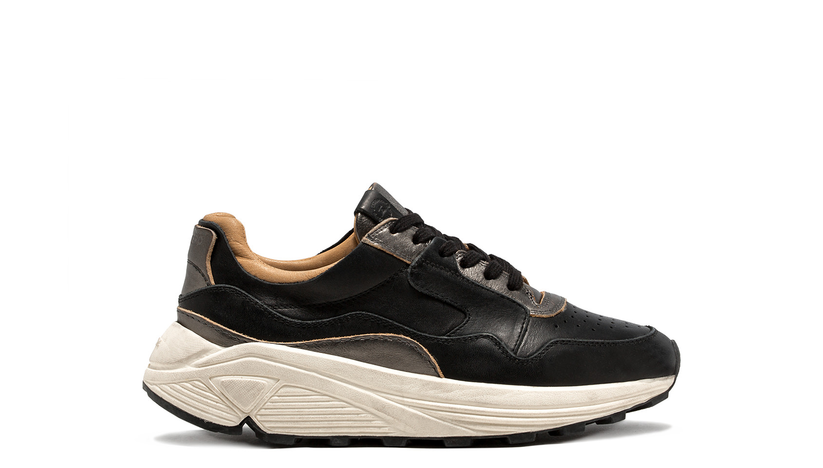 BUTTERO: VINCI RUNNING IN BLACK LEATHER