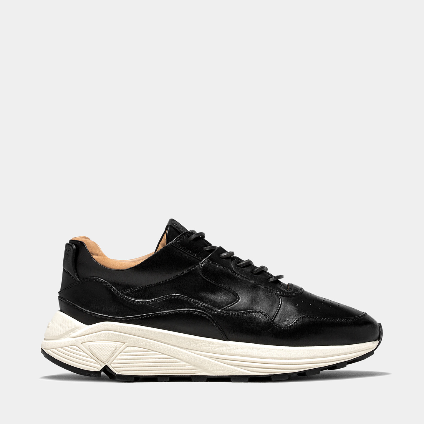 BUTTERO: VINCI RUNNING IN BLACK CALF LEATHER