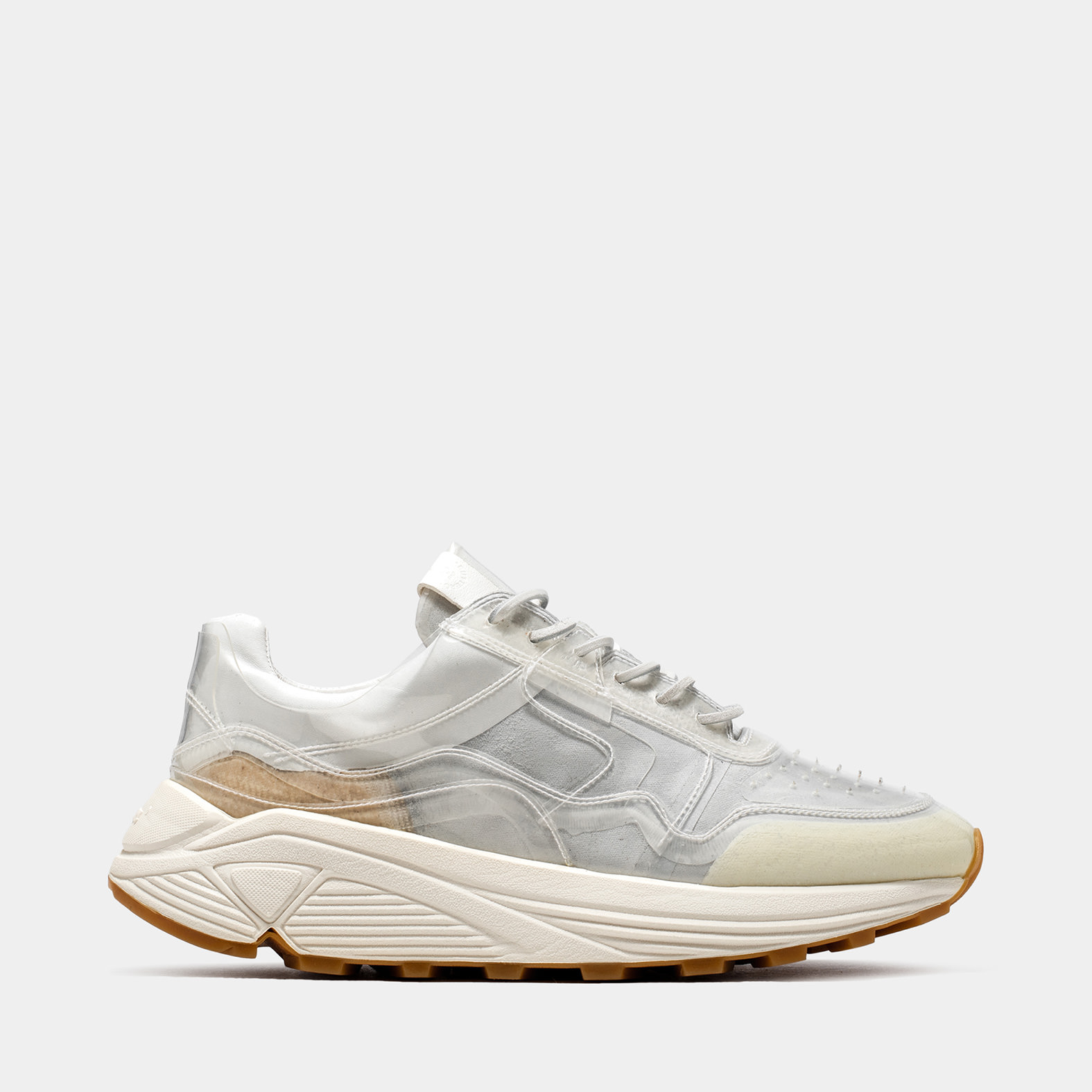 BUTTERO: VINCI SNEAKER IN WHITE LINING COATED IN PVC