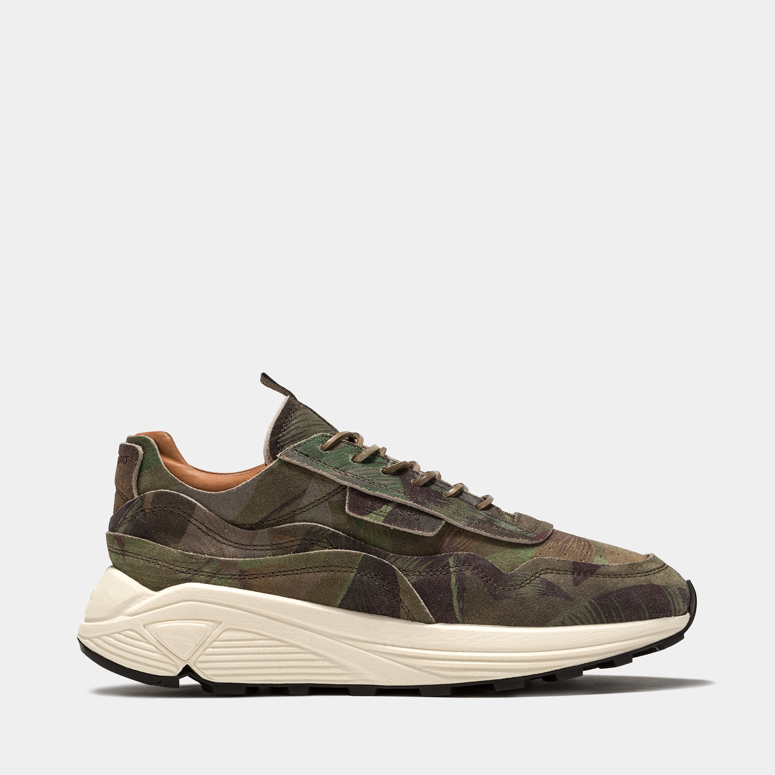 BUTTERO: VINCI SNEAKERS IN HUNTER GREEN SUEDE WITH FLORAL PATTERN