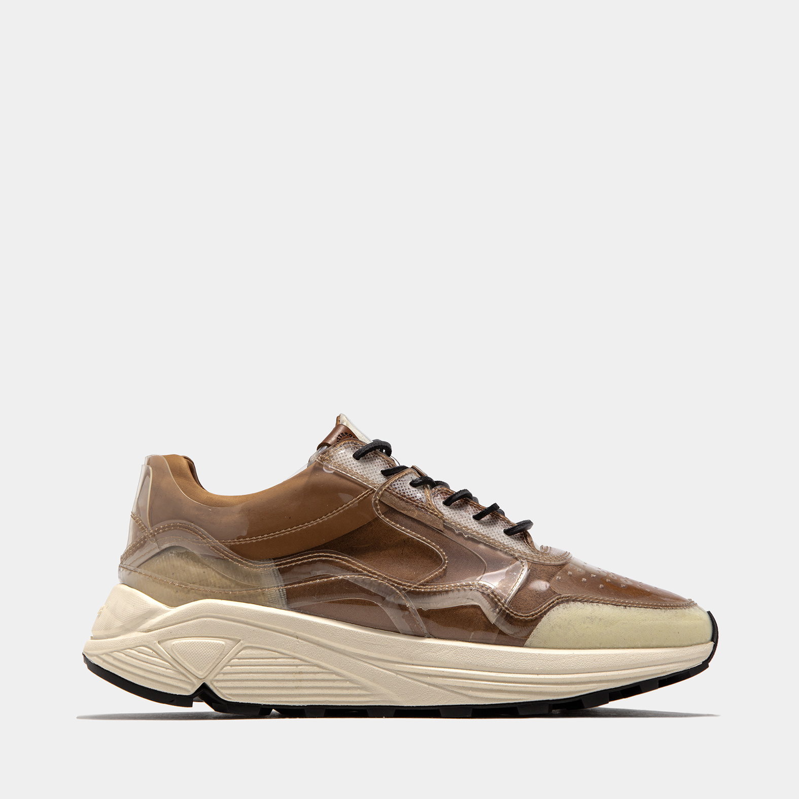 BUTTERO: VINCI SNEAKER IN TRANSPARENT POLYURETHANE WITH HAZELNUT LINING