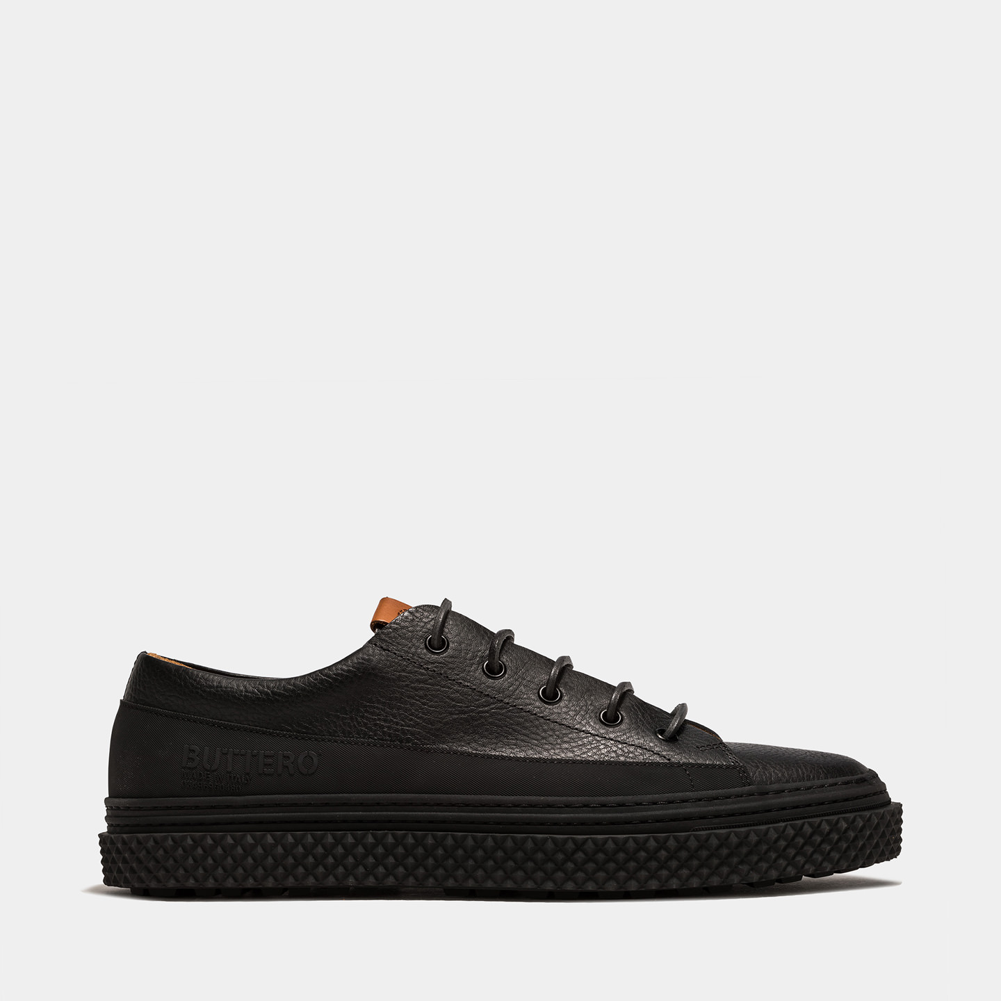 BUTTERO: BRIGATA SNEAKERS IN BLACK LEATHER