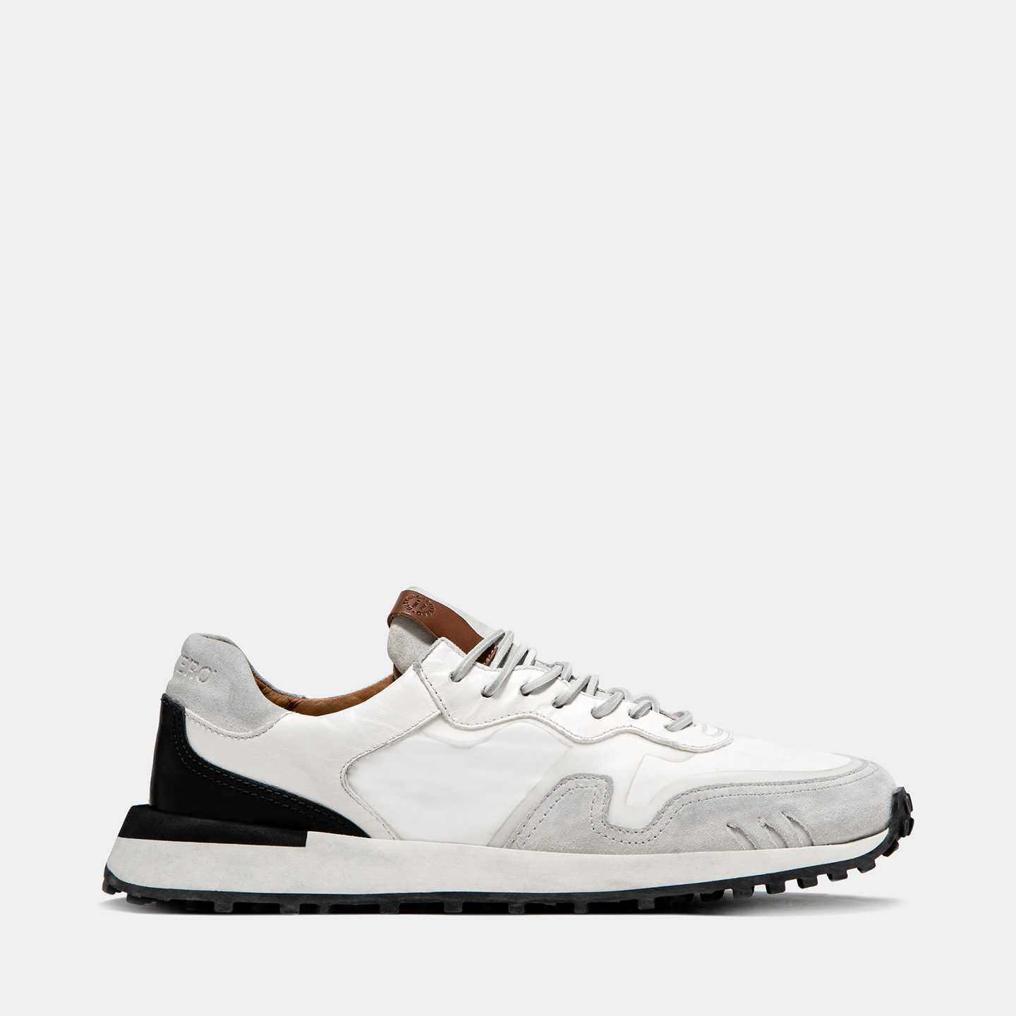 BUTTERO: FUTURA SNEAKERS IN? WHITE MIXED LEATHER AND NYLON