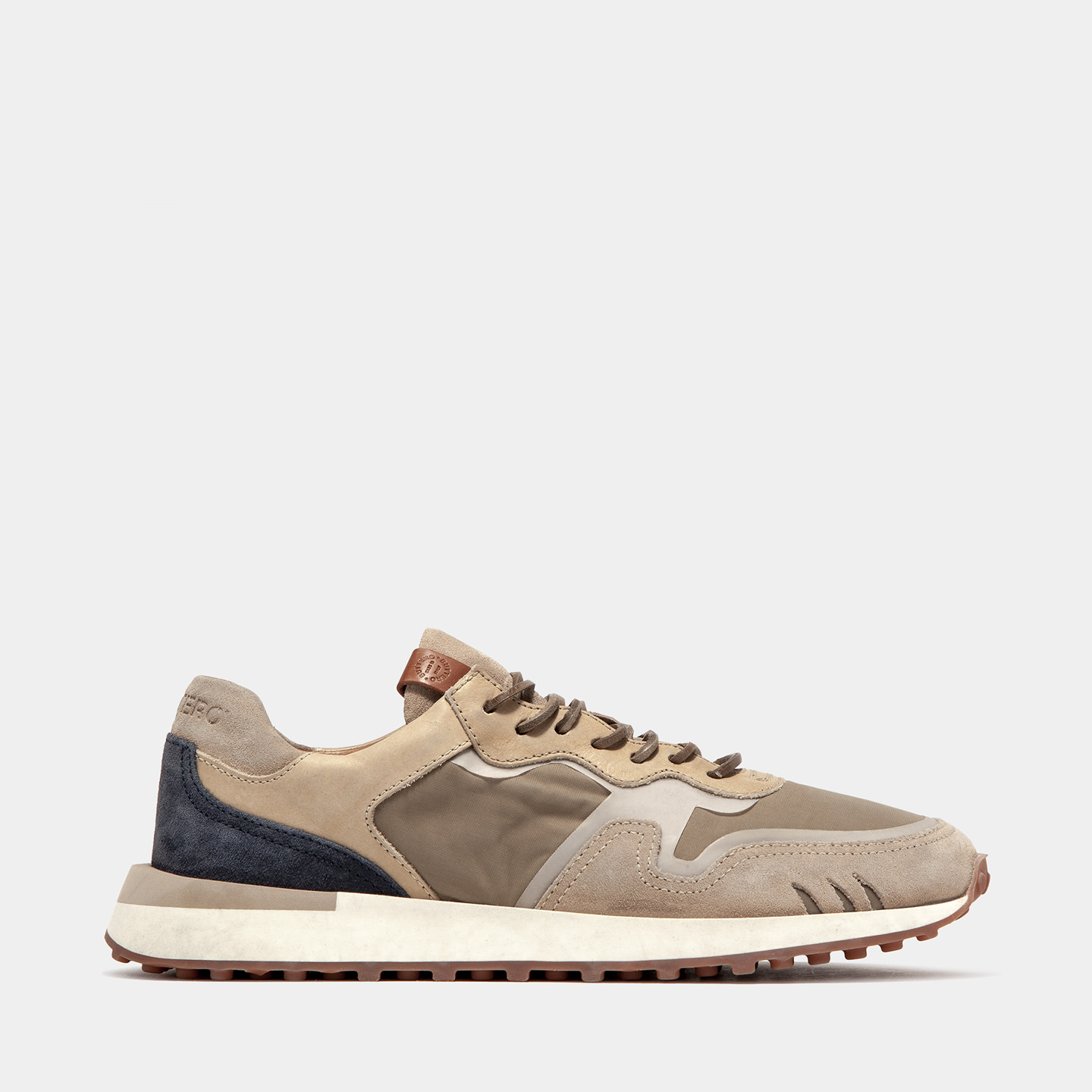 BUTTERO: FUTURA ISNEAKERS IN BEIGE NYLON AND MIXED LEATHER