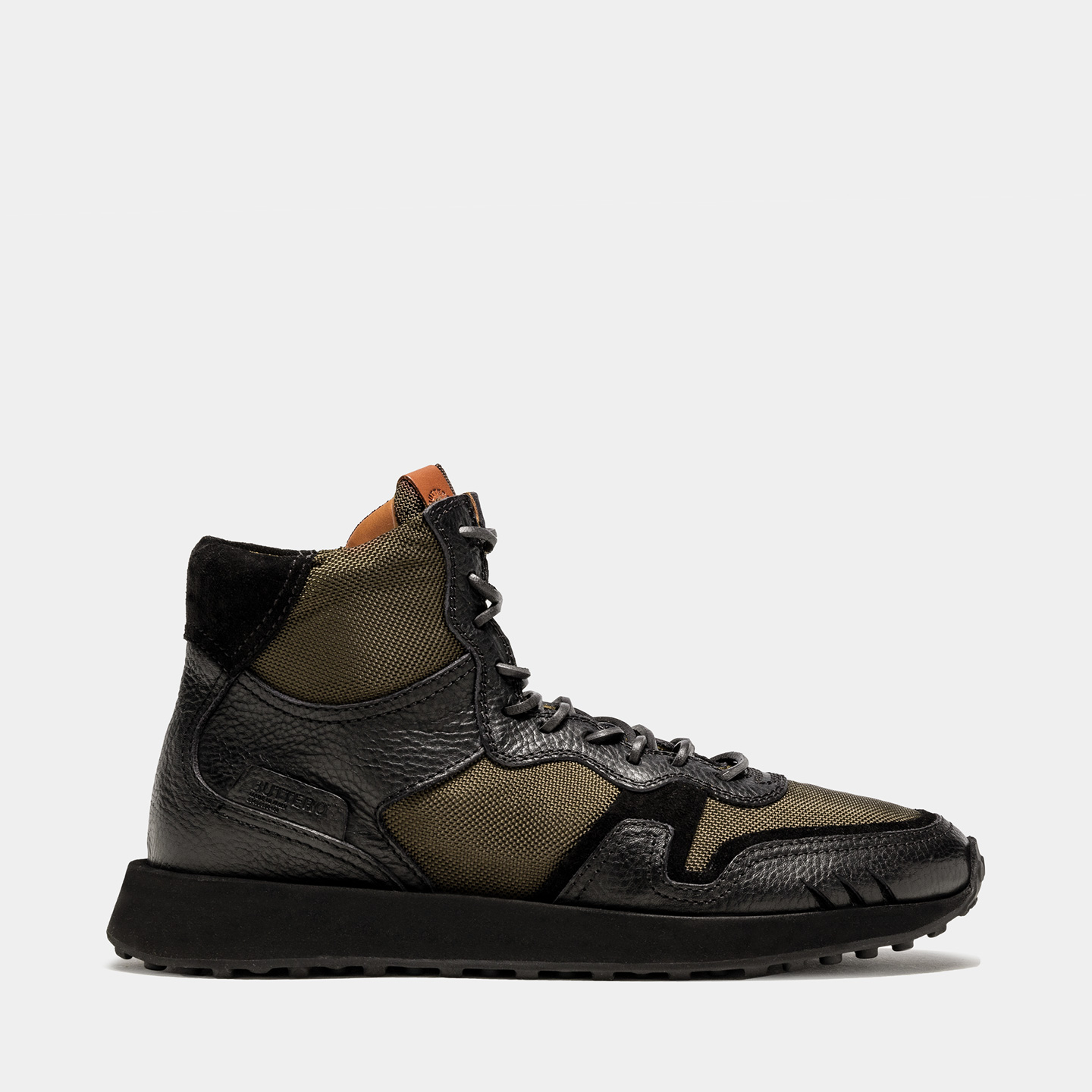 BUTTERO: SNEAKERS FUTURA IN NYLON E PELLE NERA
