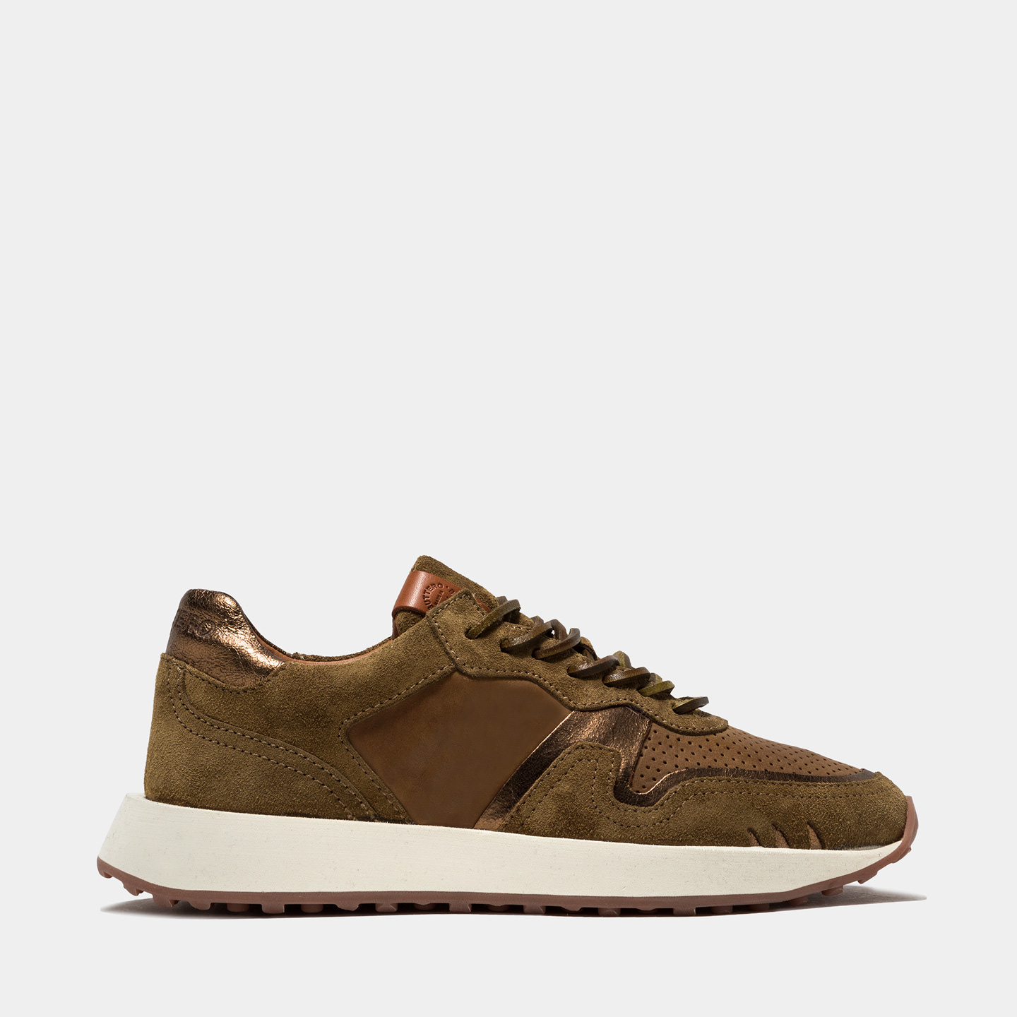 BUTTERO: FUTURA SNEAKERS IN SUEDE AND PLANTATION CRACKLE EFFECT LEATHER
