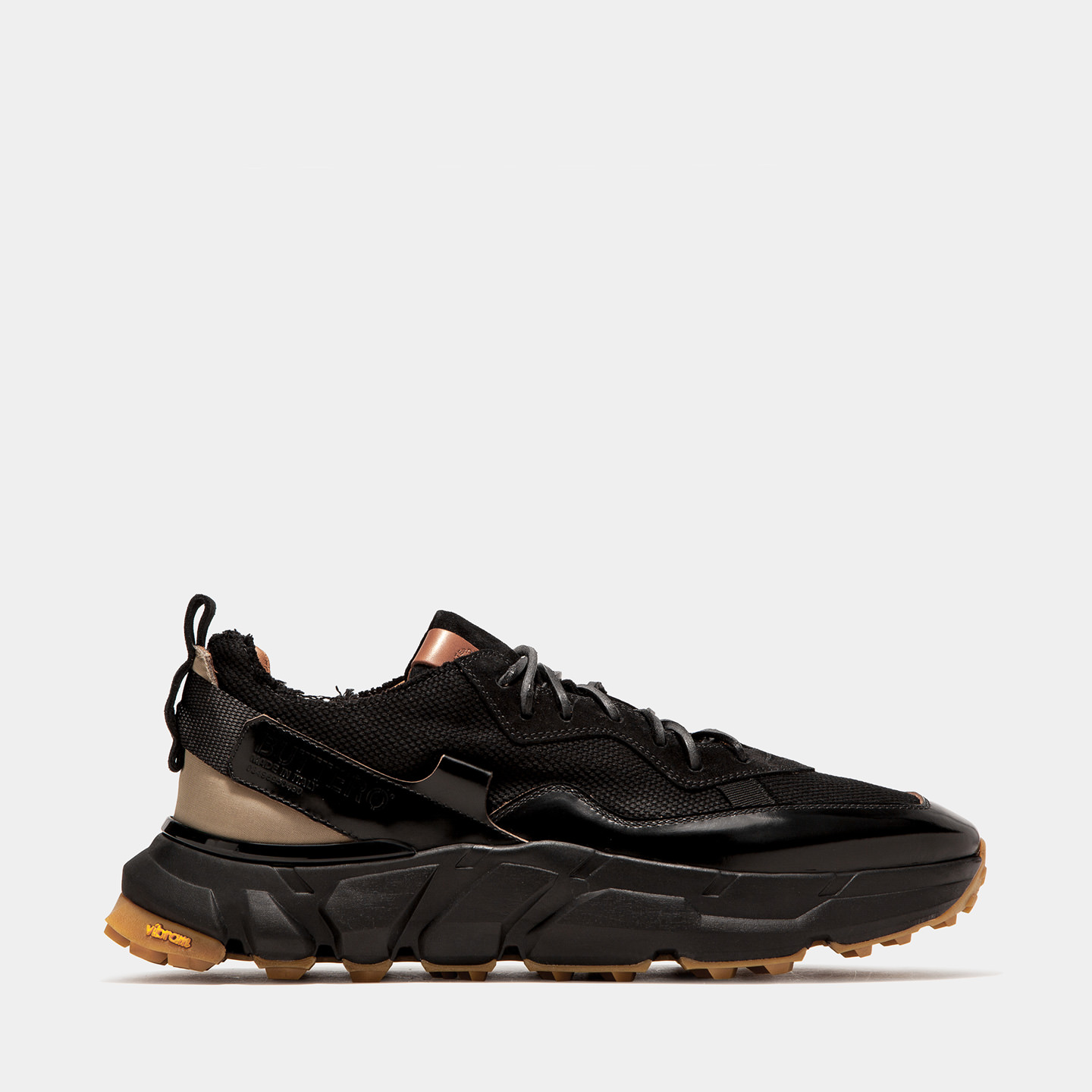 BUTTERO: SPAZIO SNEAKERS IN  BLACK FABRIC AND MIXED LEATHER