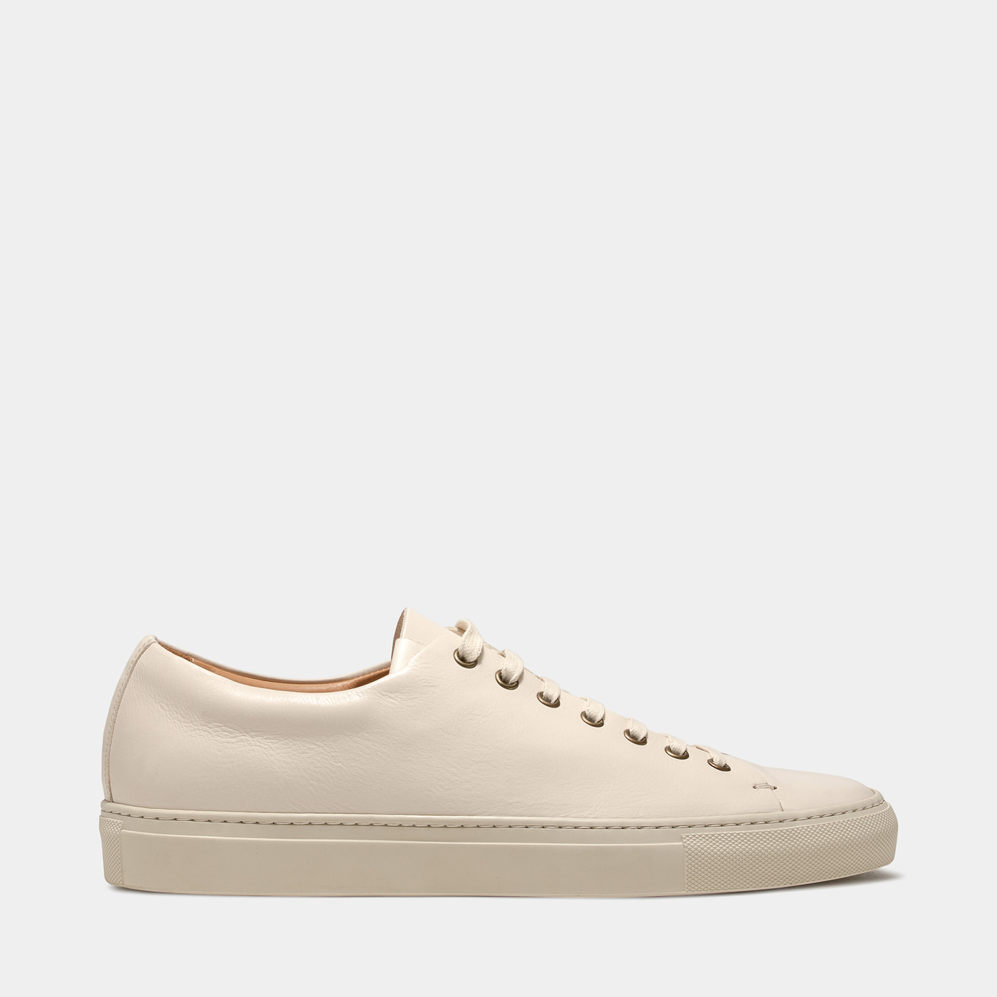 BUTTERO: SNEAKERS TANINO BASSE IN PELLE BIANCO