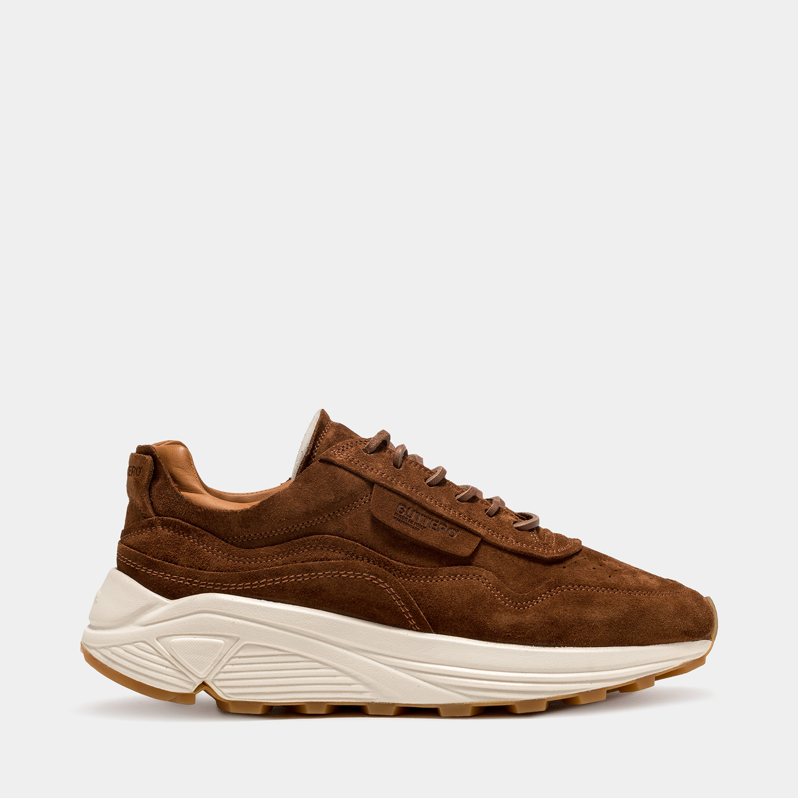 BUTTERO: VINCI SNEAKERS IN FOX BROWN SUEDE