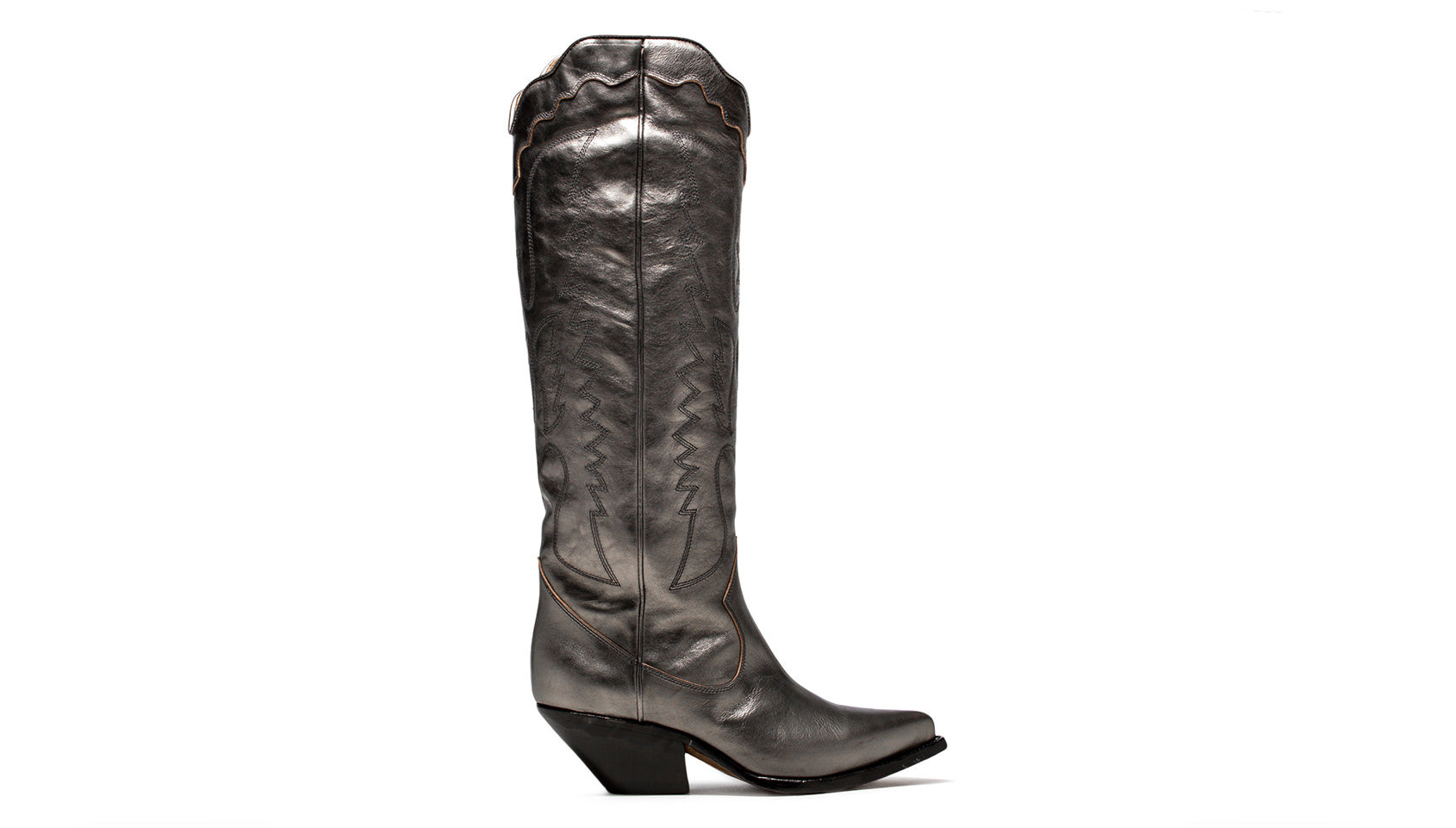BUTTERO: ELISE HIGH TOP BOOTS IN GRAPHITE LAMINATED LEATHER