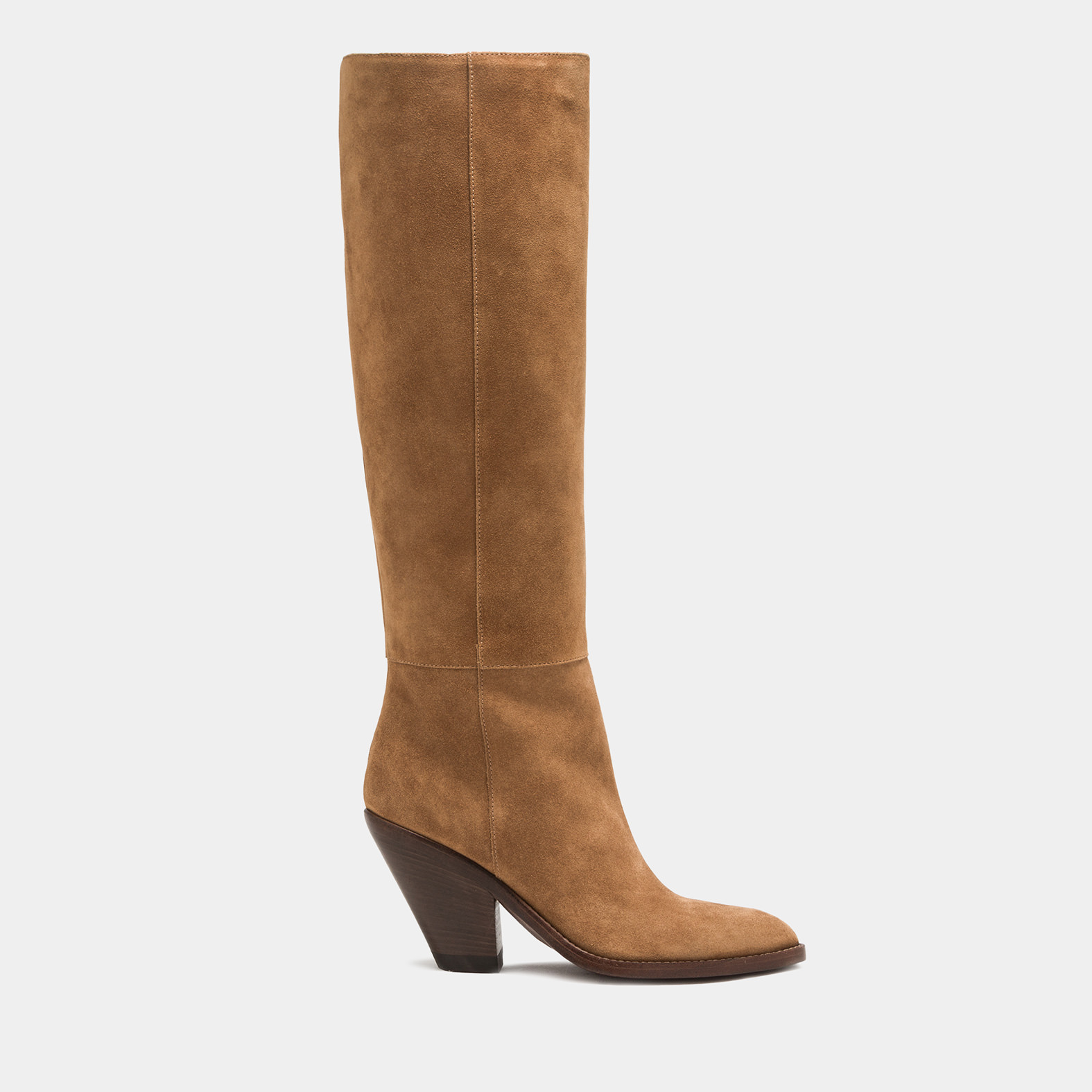BUTTERO: JANE HIGH HEEL BOOTS IN COPPER BROWN SUEDE