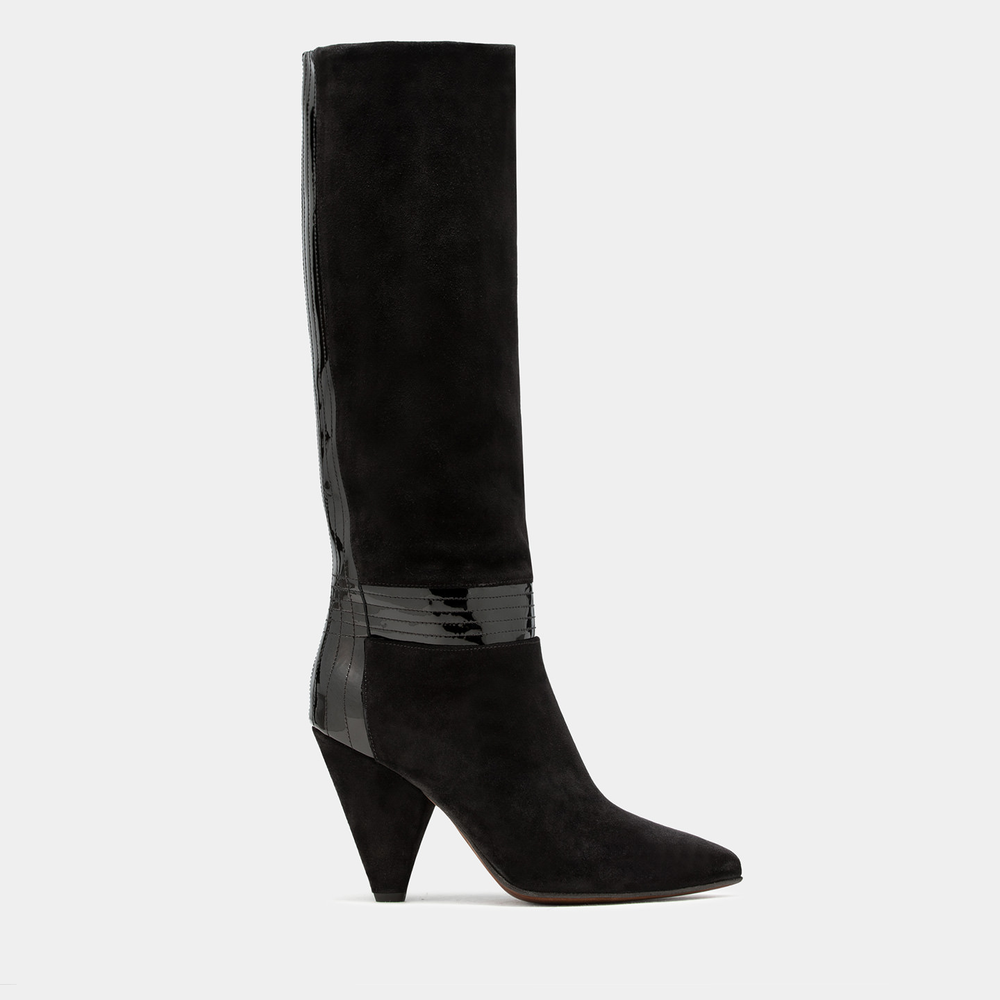 BUTTERO: BLACK SUEDE ROSE HIGH TOP BOOTS WITH PATENT LEATHER INSERTS