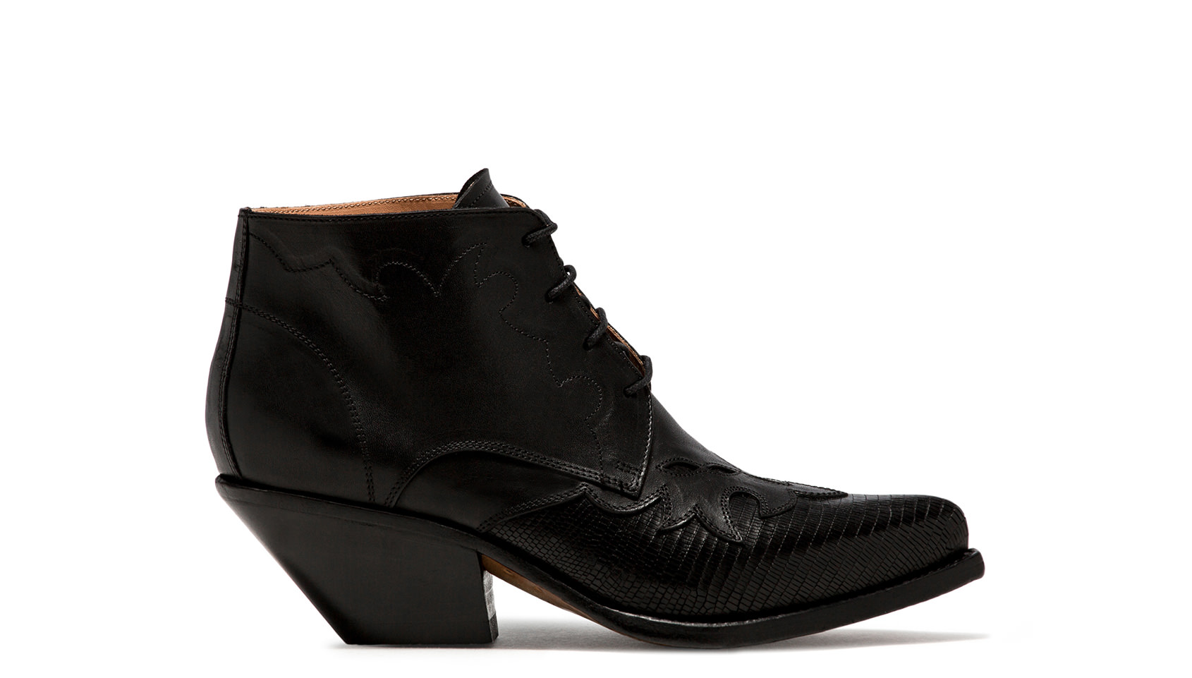 BUTTERO: ELISE LACE-UP LOW TOP  BOOTS IN BLACK LEATHER