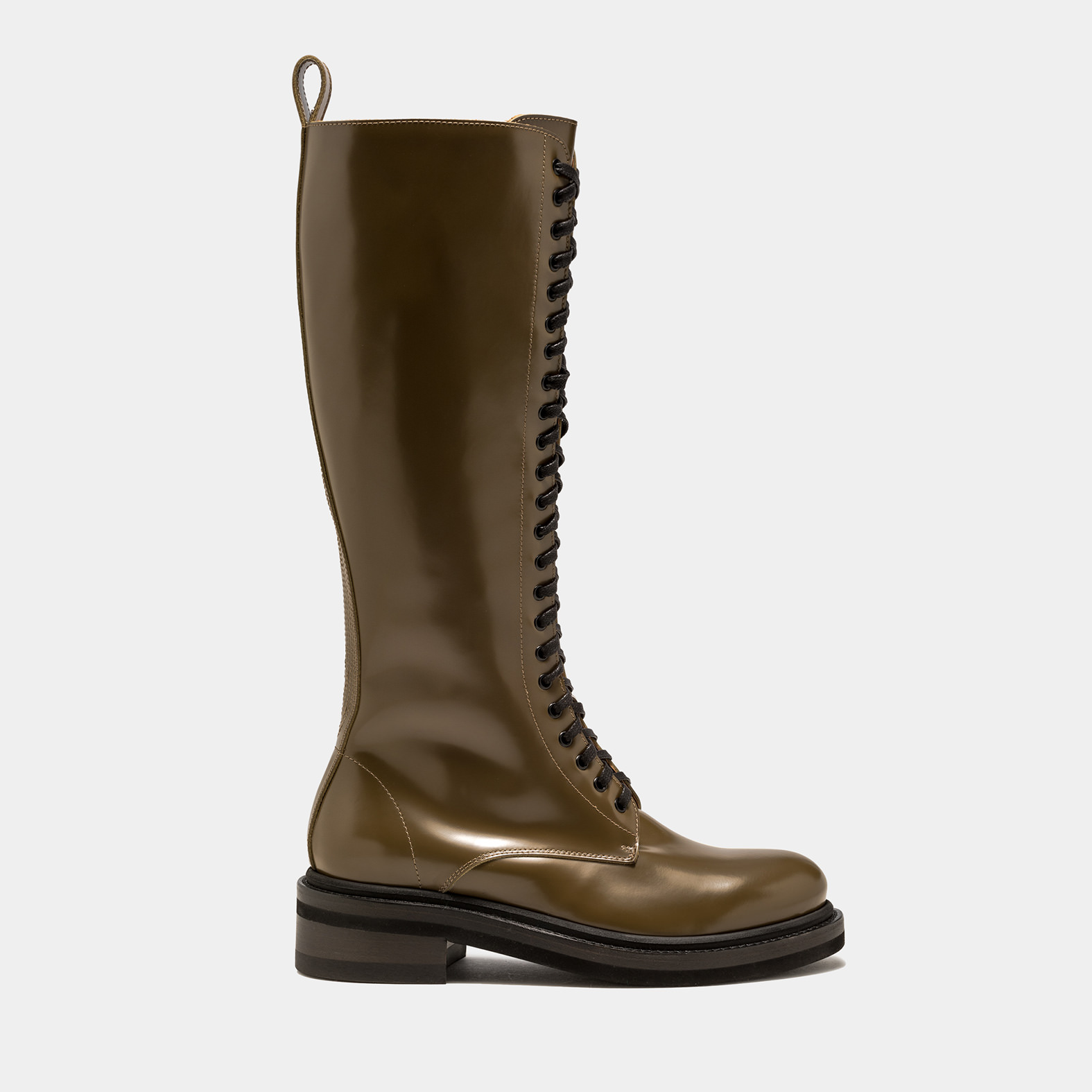 BUTTERO: HIGH COMBAT BOOT IN LIKEN GREEN BRUSHED LEATHER