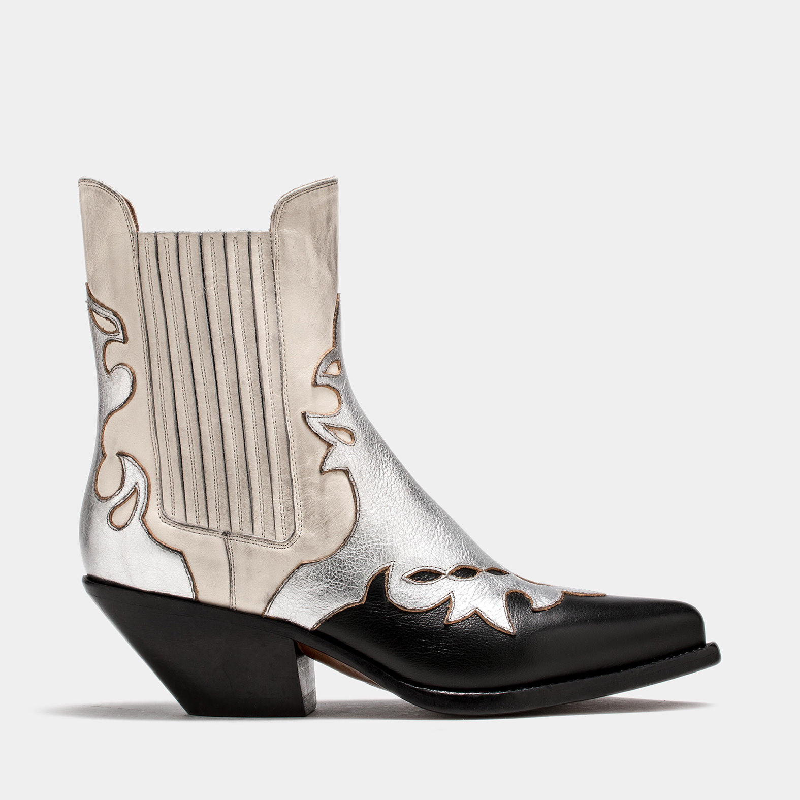 BUTTERO: WHITE ELISE ANKLE BOOTS IN INLAID LEATHER