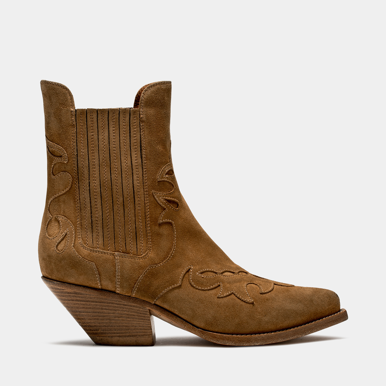 BUTTERO: ELISE LOW TOP DURANGO BOOTS IN COPPER BROWN INLAID SUEDE