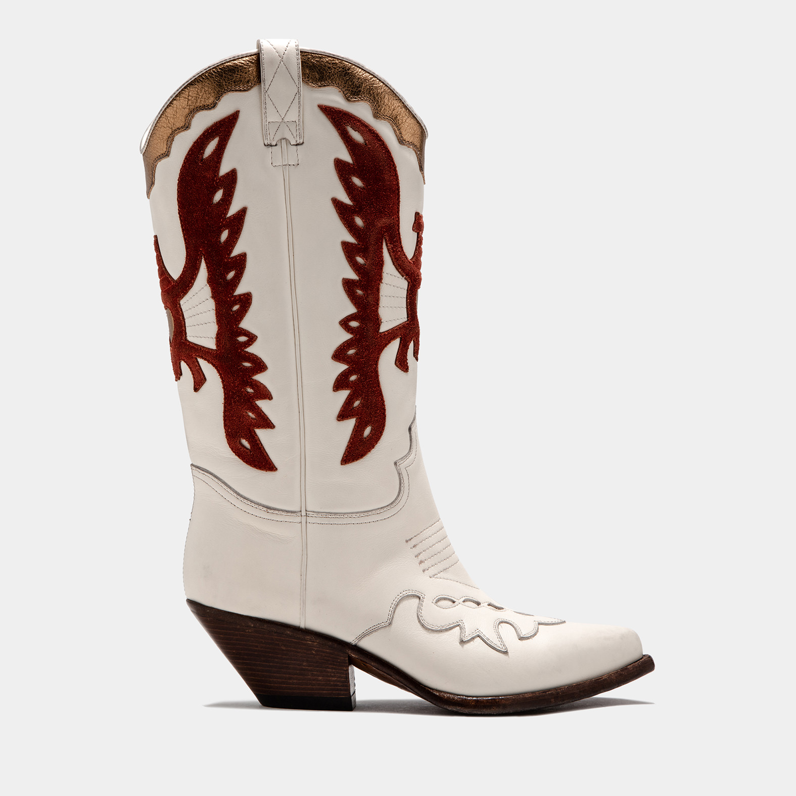 BUTTERO: WHITE ELISE DURANGO BOOTS IN INLAID LEATHER