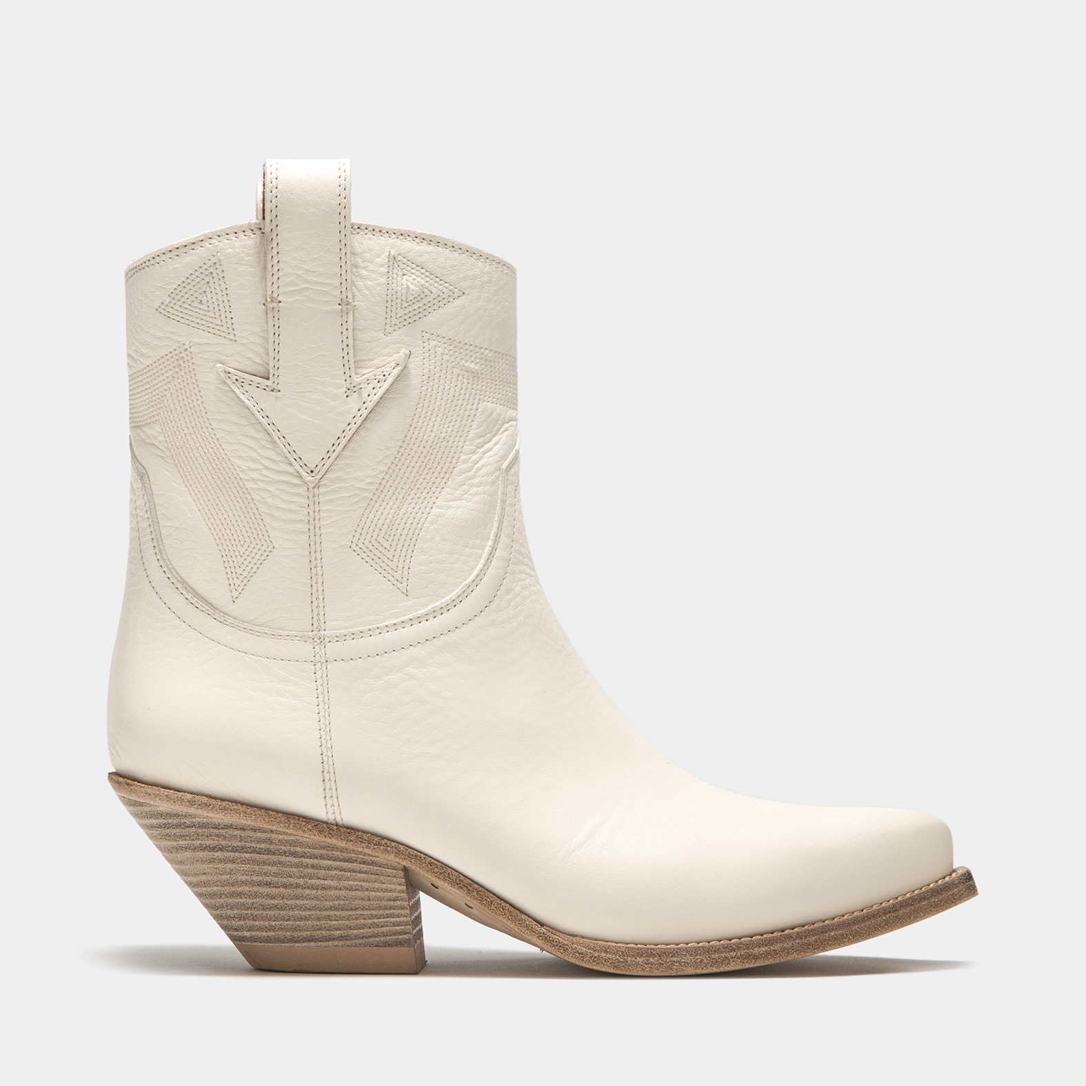 BUTTERO: ELISE MID DURANGO BOOTS IN CREAM WHITE LEATHER