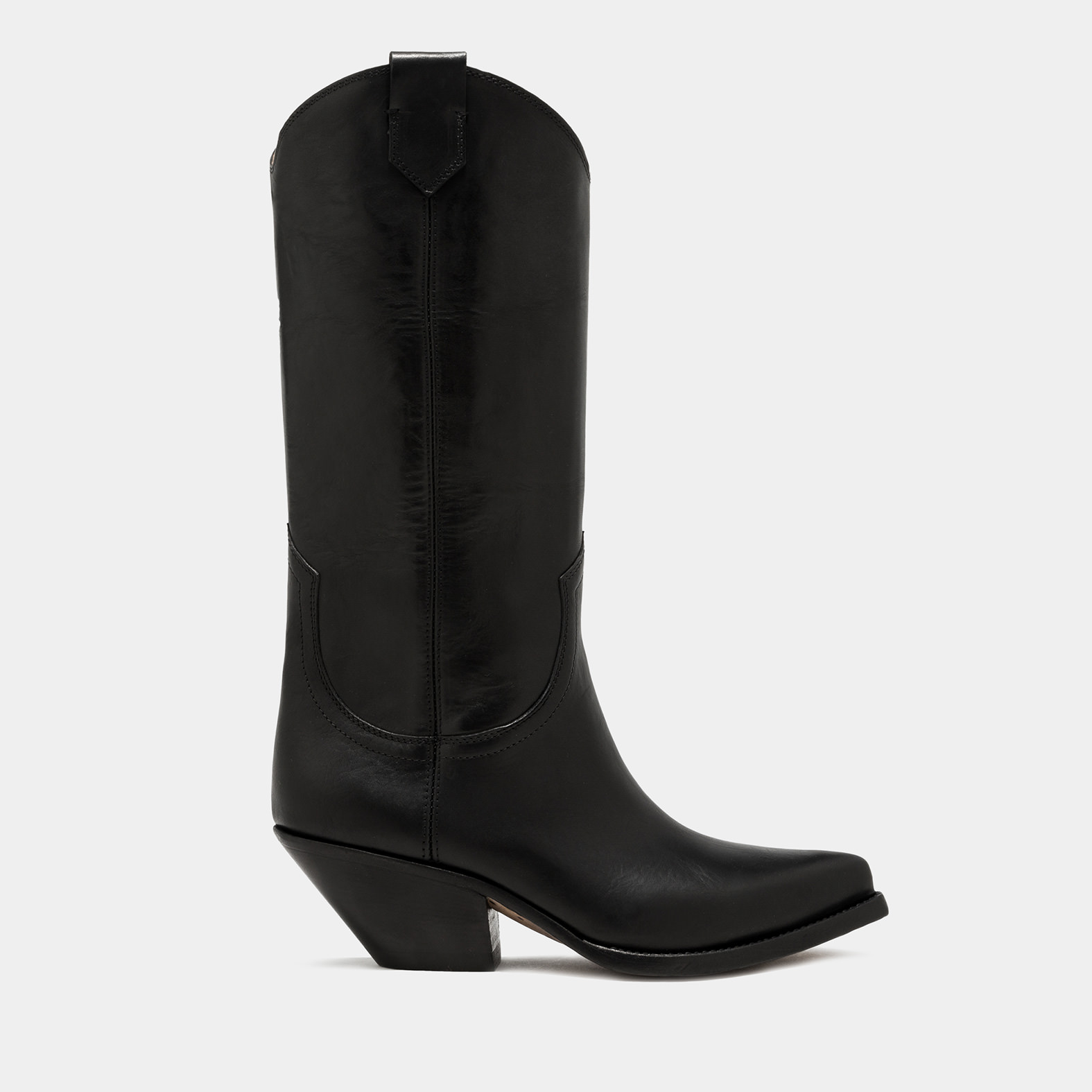 BUTTERO: ELISE HIGH HEEL DURANGO BOOTS IN BLACK LEATHER