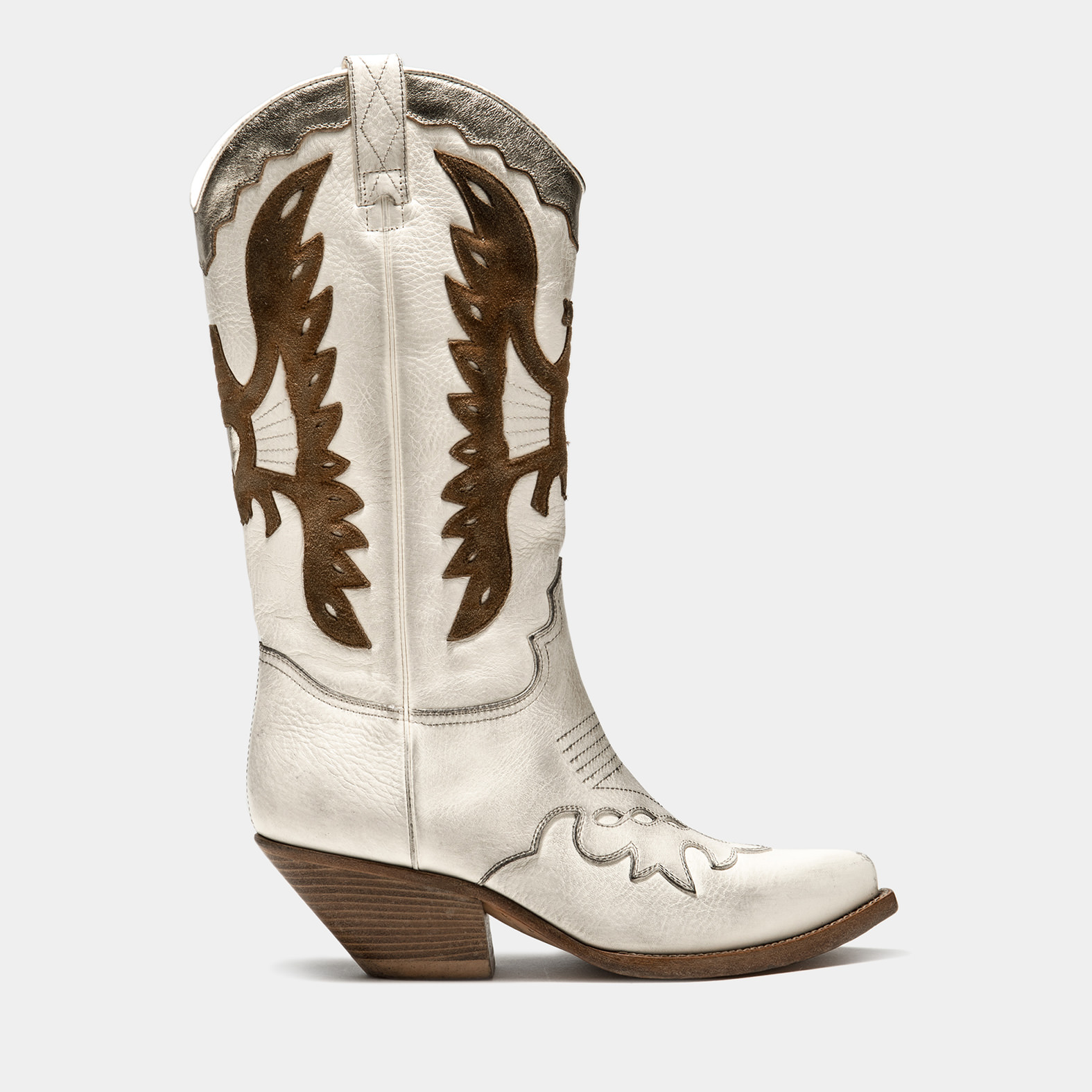 BUTTERO: HIGH HEEL ELISE DURANGO BOOTS IN USED-EFFECT CREAM WHITE LEATHER WITH INLAYS
