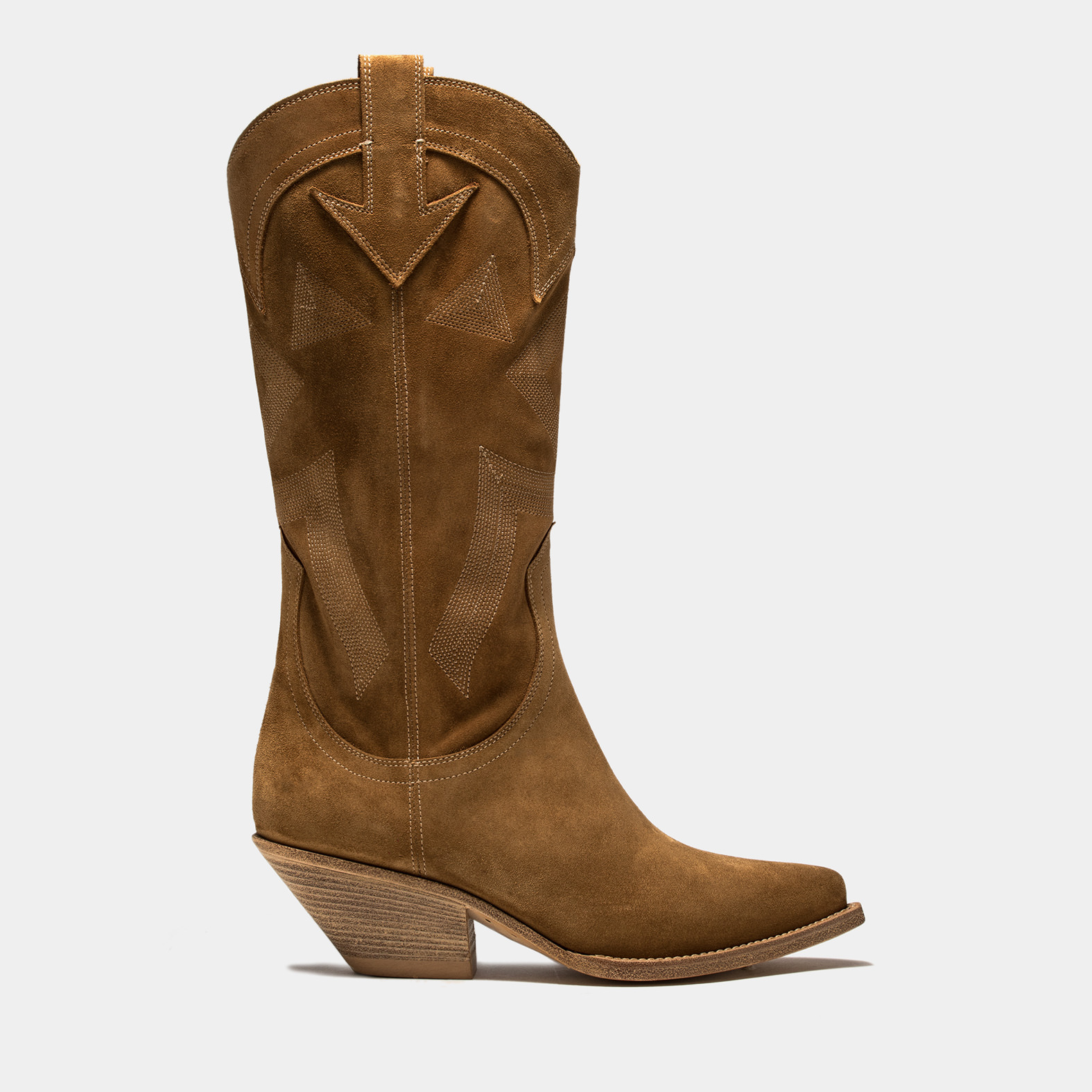 BUTTERO: ELISE HIGH HEEL DURANGO BOOTS IN COPPER BROWN SUEDE