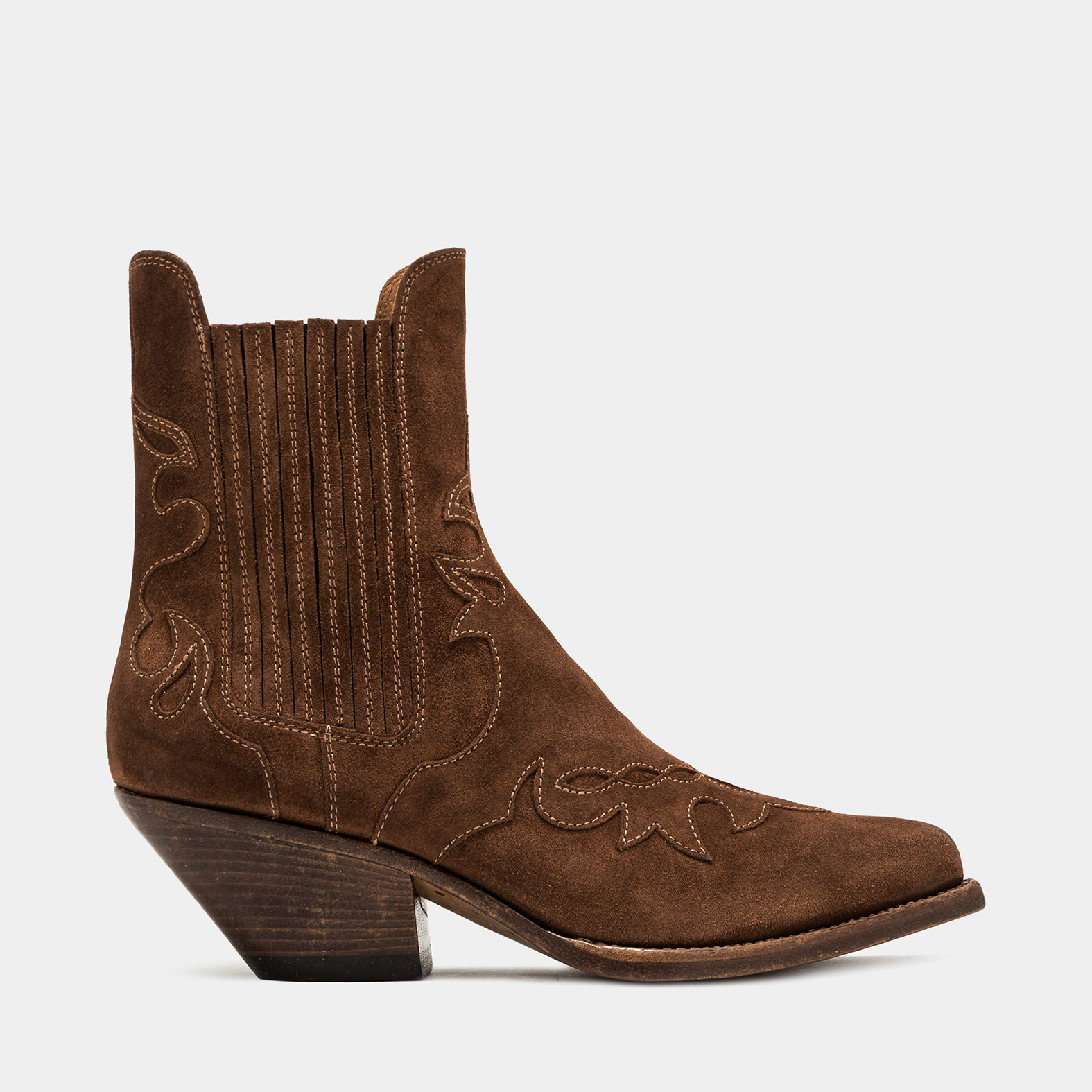 BUTTERO: ELISE LO WHEEL DURANGO BOOTS IN FOX SUEDE