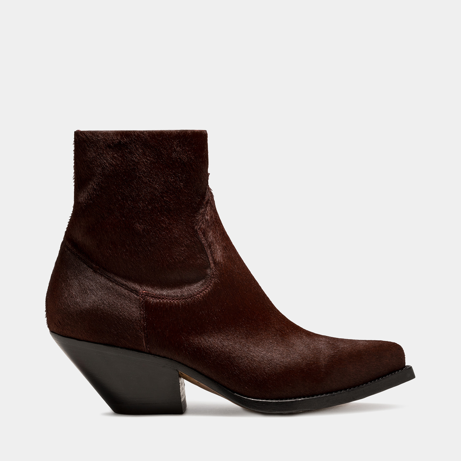 BUTTERO: ELISE TEXANO LOW BOOT IN BURGUNDY PONY SKIN