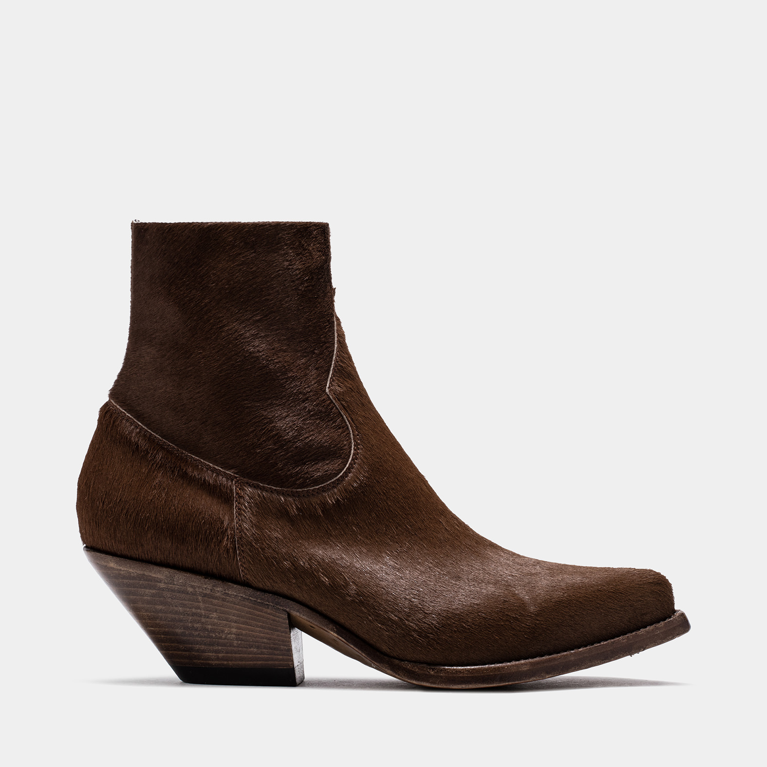BUTTERO: ELISE DURANGO BOOTS IN STRETCH PONY SKIN COLOR BROWN