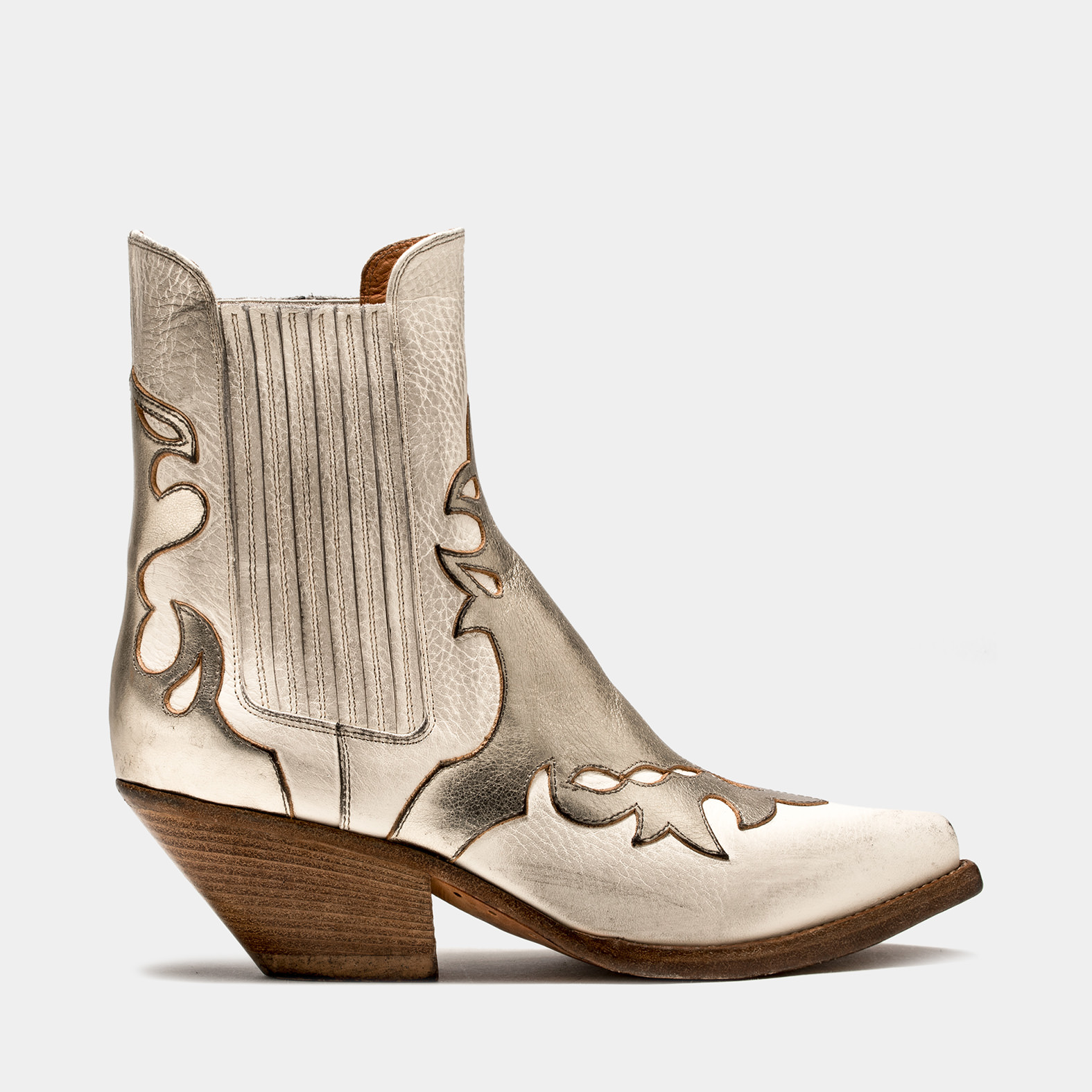 BUTTERO: LOW HEEL ELISE DURANGO BOOTS IN USED-EFFECT CREAM WHITE LEATHER WITH INLAYS