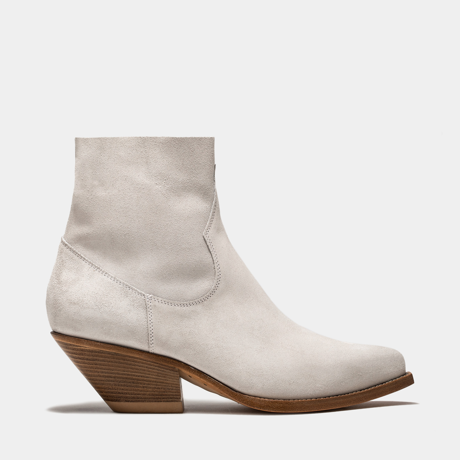 BUTTERO: STIVALE ELISE TEXANO BASSO IN SUEDE BIANCO