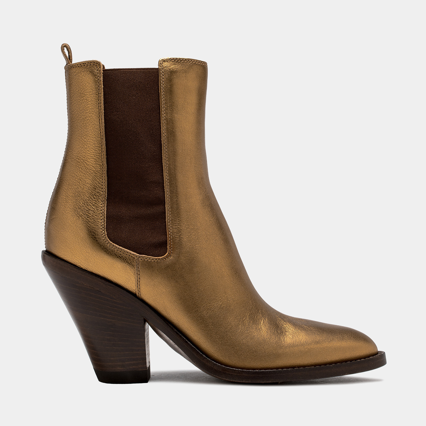 BUTTERO: JANE ANKLE BOOTS IN GOLD TONE LAMINATED LEATHER