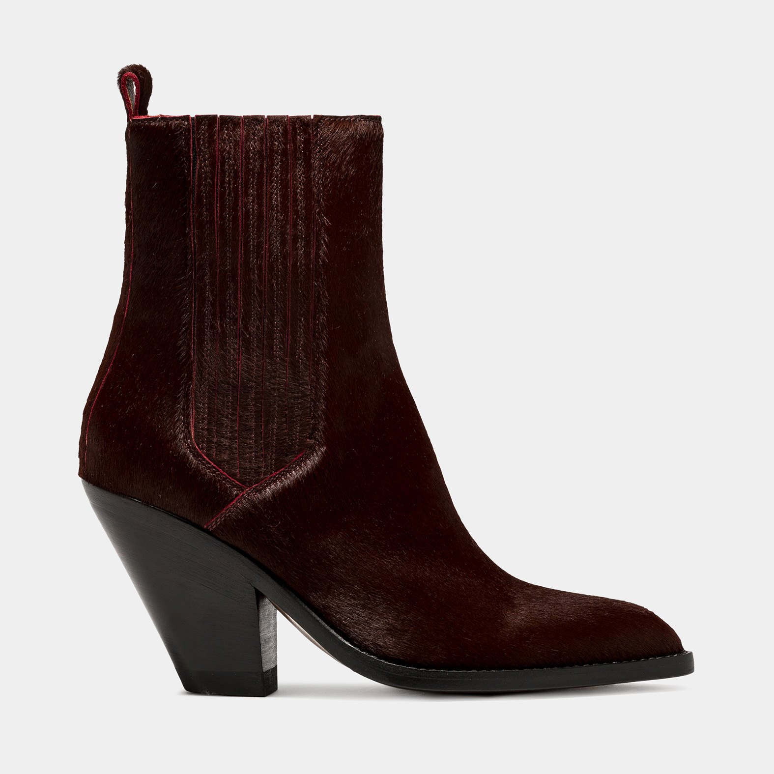 BUTTERO: JANE BOOTS IN BURGUNDY PONY SKIN