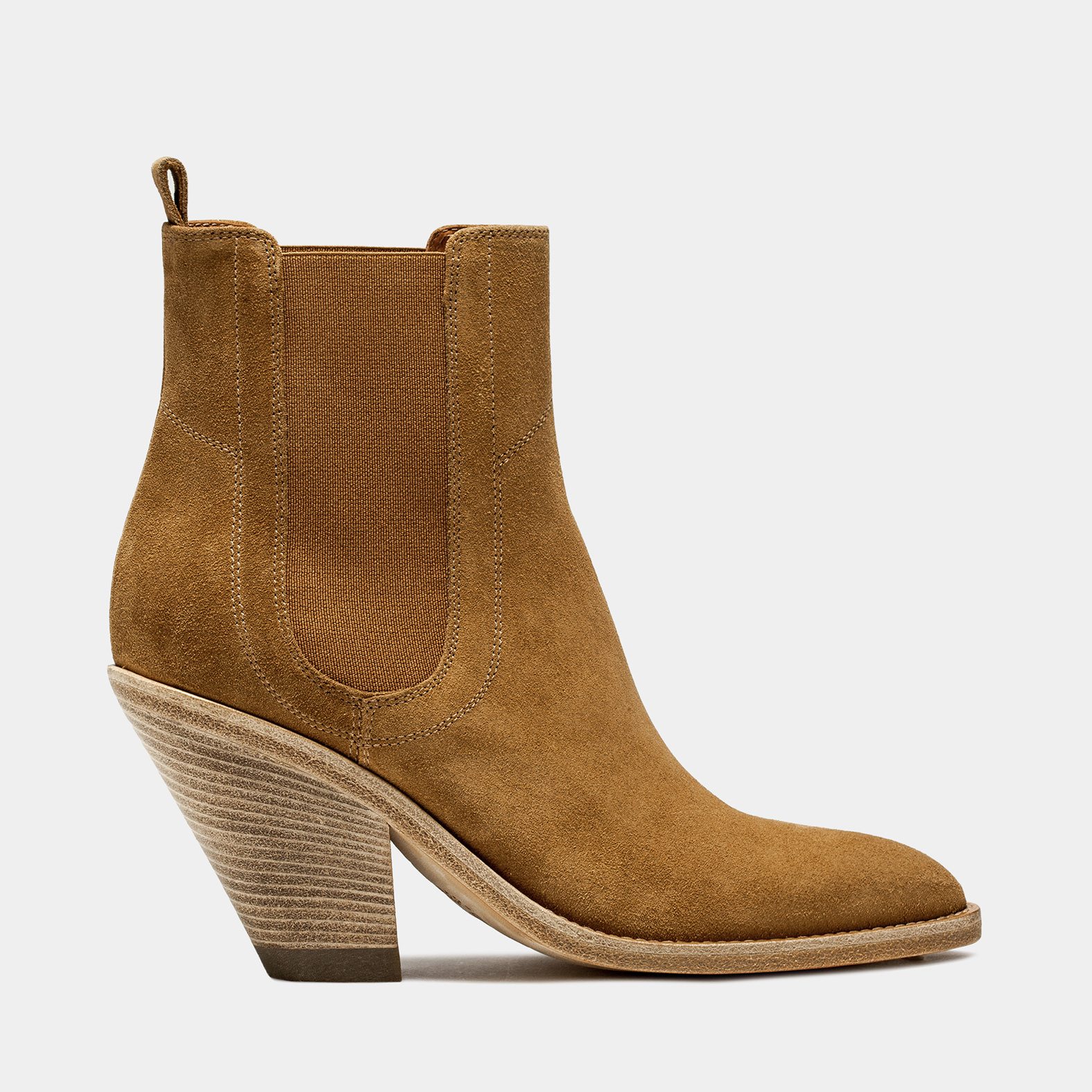 BUTTERO: STIVALE JANE TEXANO IN SUEDE RAME